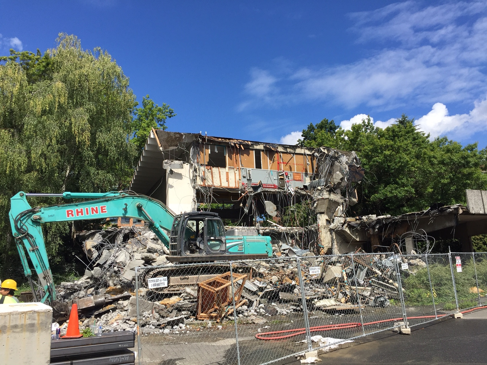 Tuesday's demolition of More Hall annex, UW's nuclear-reactor building. Photo by Docomomo WeWA.