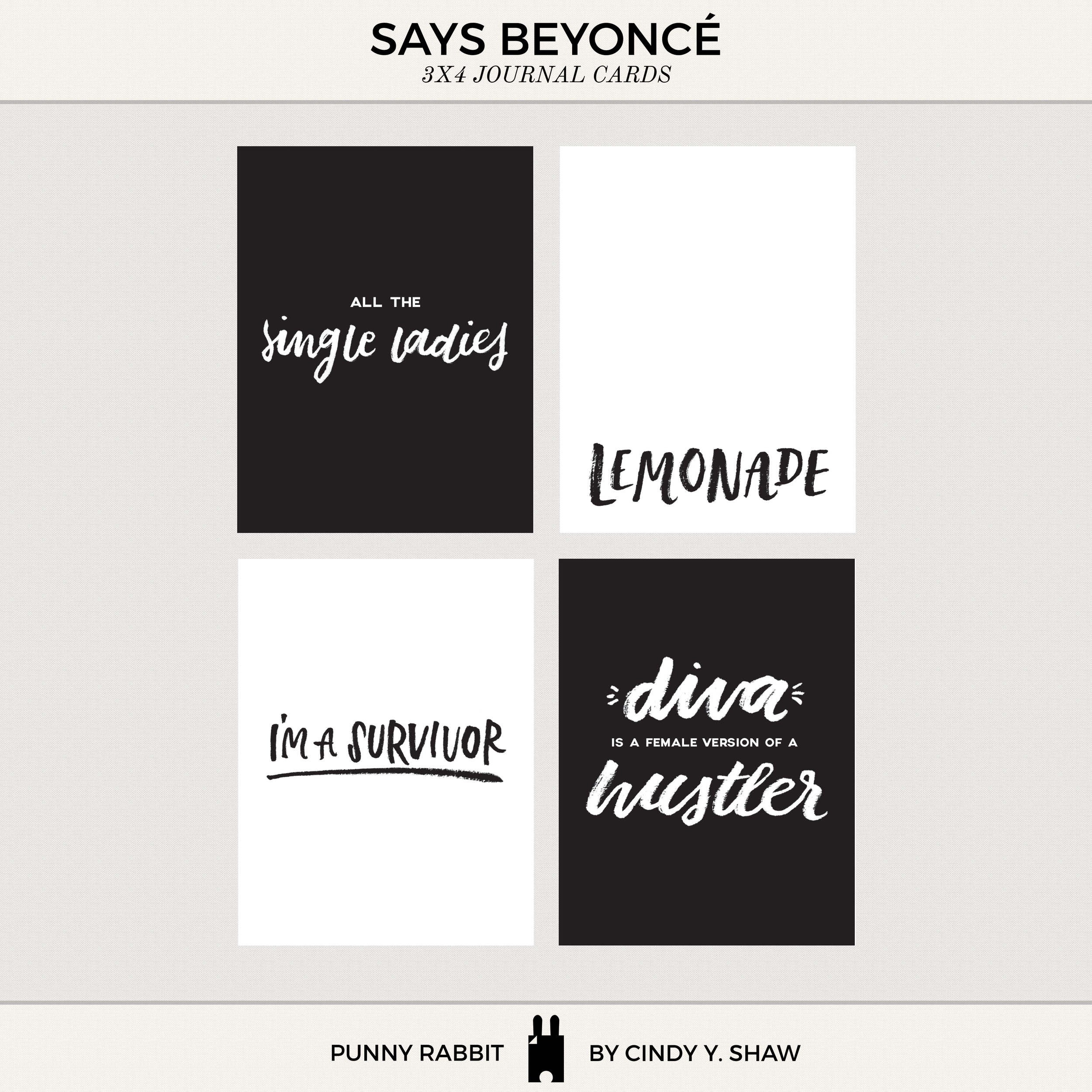 beyonce says project life cards printable freebie