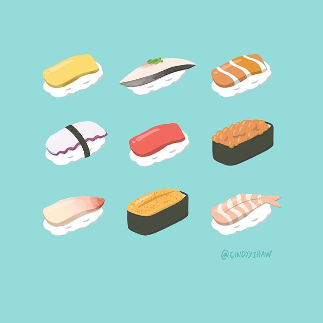 Today was international sushi day 😍 but the idea of flesh eating bacteria has me temporarily shook 😖 🍣🍣🍣 #internationalsushiday #sushiday #sushi #illustration #nigiri #procreate #ipadpro #applepencil #salmonlover