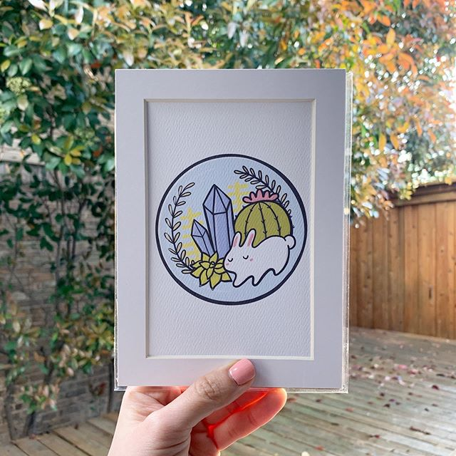 🐇🌵 Here is one of the items I'll be introducing when the shop reopens August 8th! Mini prints on textured felt paper, including a mat for flexible framing 🙂 I've only sold them locally so far, but I'm excited for them to travel farther 📬 🐰🐰🐰 #artistsoninstagram #artprint #comingsoon #terrarium #cactus #illustration #bunniesofinstagram #bunnylover #sneakpeek