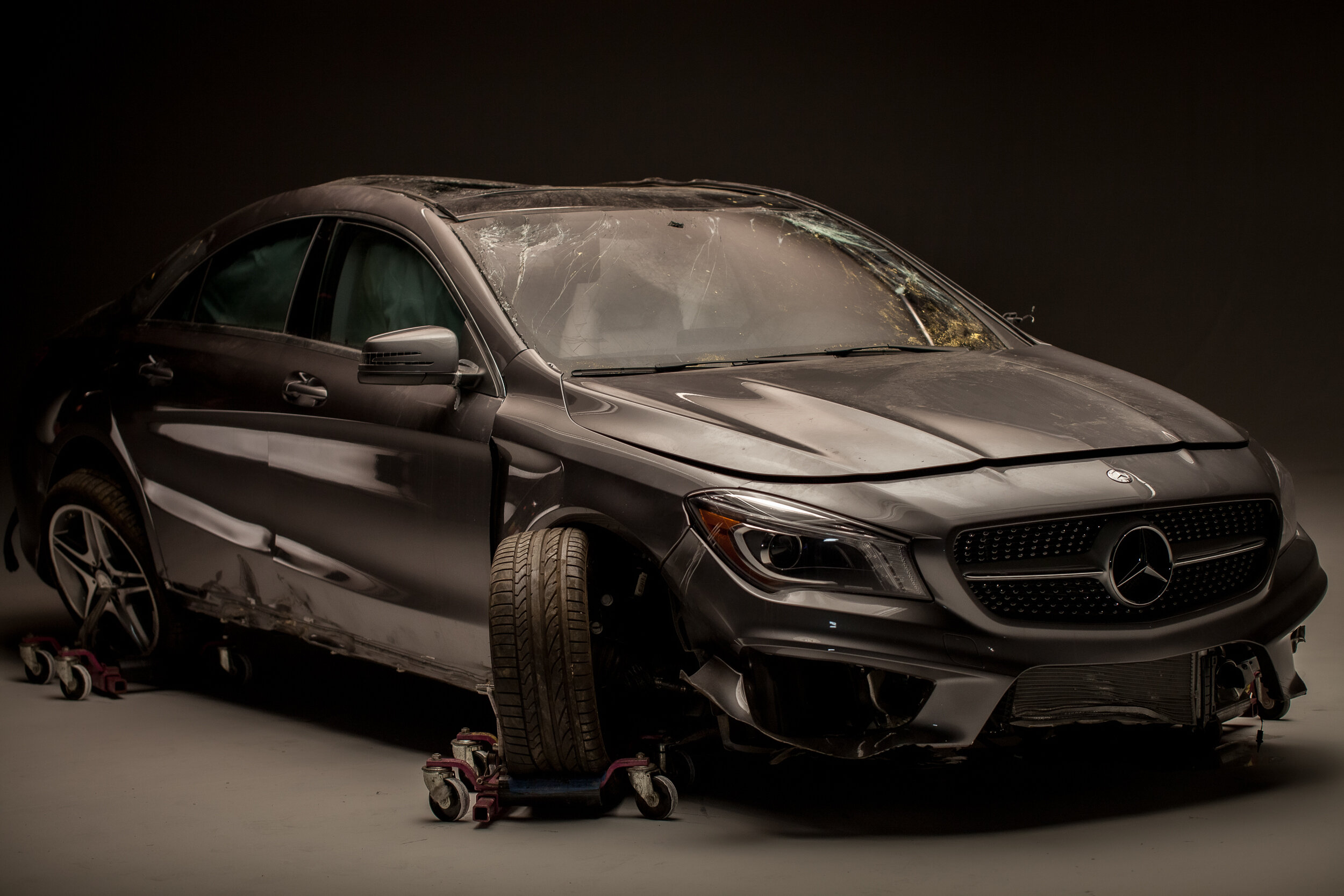 Mercedes-Benz CLA   Post accident, no-one injured.
