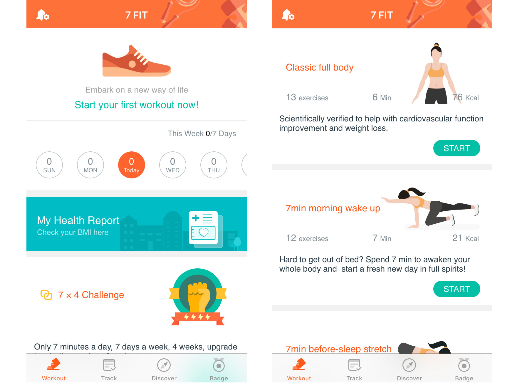 11.) 7 FIT - 7 Minute Workout - Let's say that you don't like any of the previous apps because you still feel like you lack free time. What if we say you only need 10 minutes? Actually, you won't need even 10 minutes, because this app delivers you 7-minute long workouts which range from total-body routines to body-part specific. Training 7 minutes a day will not make you the next Bruce Lee, but it will get you moving and in shape.