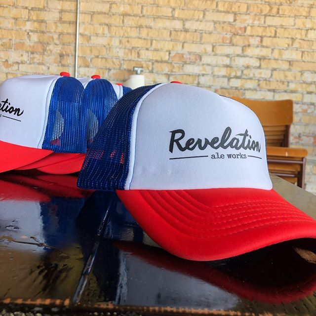 "New Rev Gear in the taproom! Come get outfitted for your summer adventures, and the patio! We're also bringing some sweet threads to @jlbeersgf on Friday and Under Brew Skies in Fargo on Saturday. Come say ""hi""! . . #itsarevelation #revgear #hallockmn #craftbeer #drinklocal #revelationaleworks #foamie #brewerybranding #districtclothing #stengl"