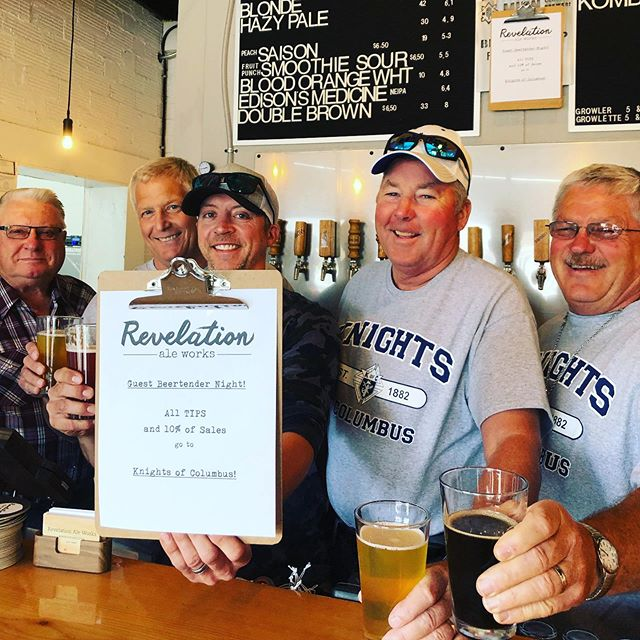 Knights of Columbus is here! 10% of sales and ALL TIPS go to help church and community programs and scholarships! . . #knightsofcolumbus #fundraiser #hallockmn #craftbeer #drinklocal #revelationaleworks #itsarevelation