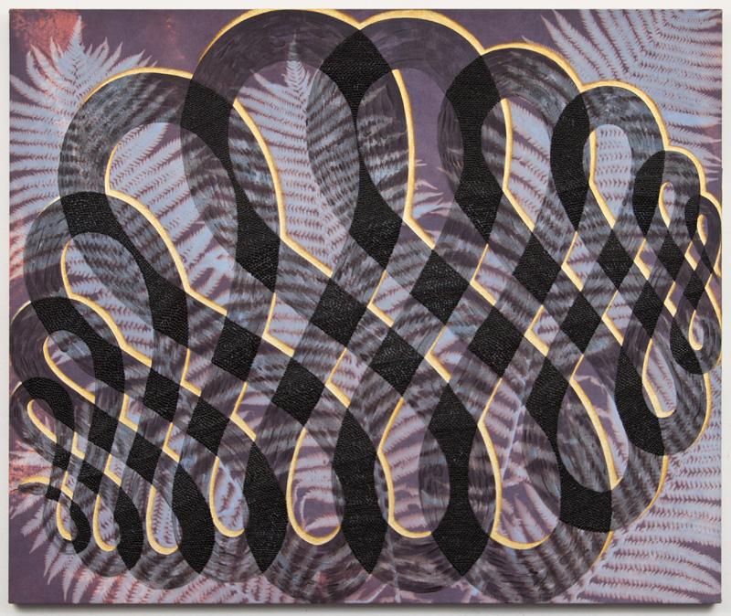 "Black Snake, 2017. Acrylic on dyed canvas. 30"" x 36"""