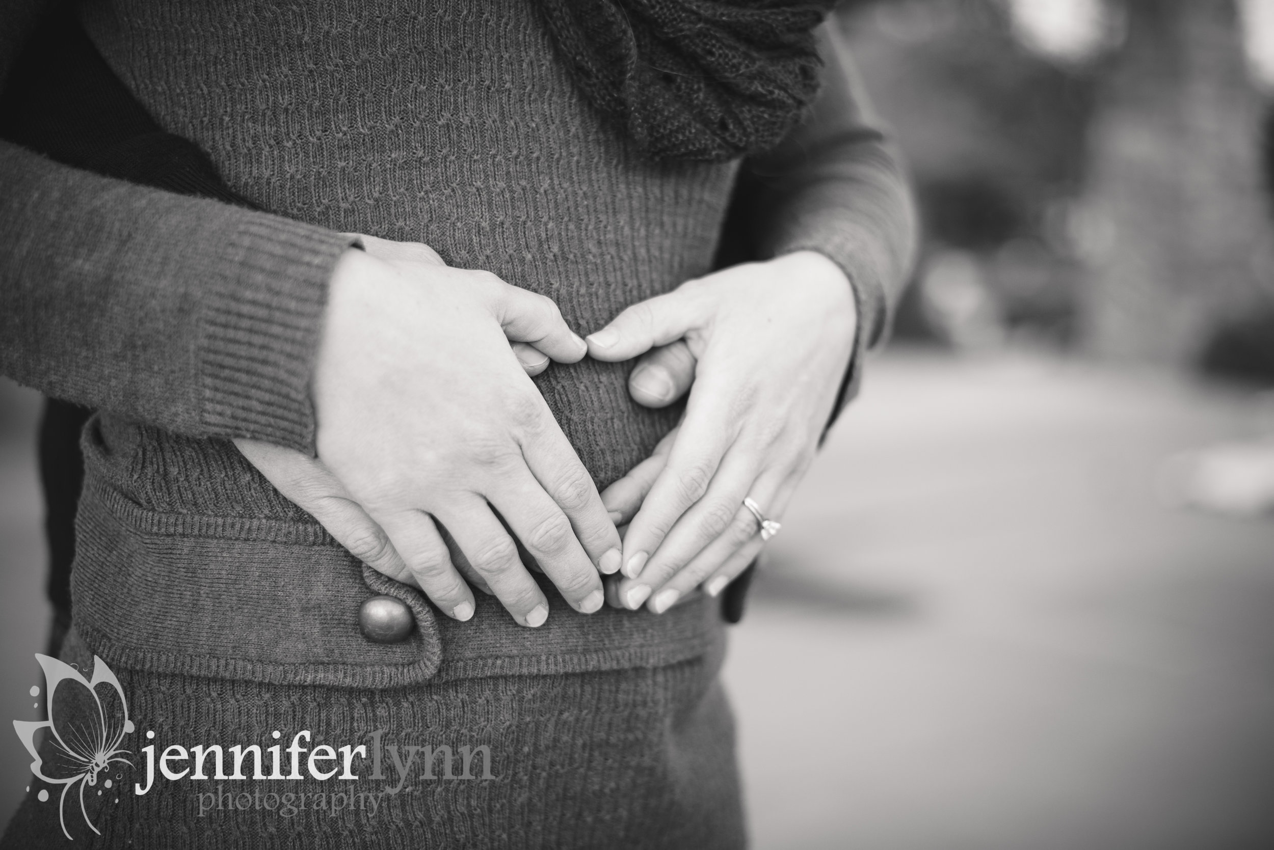 Baby Bump with Parents Hands Black and White
