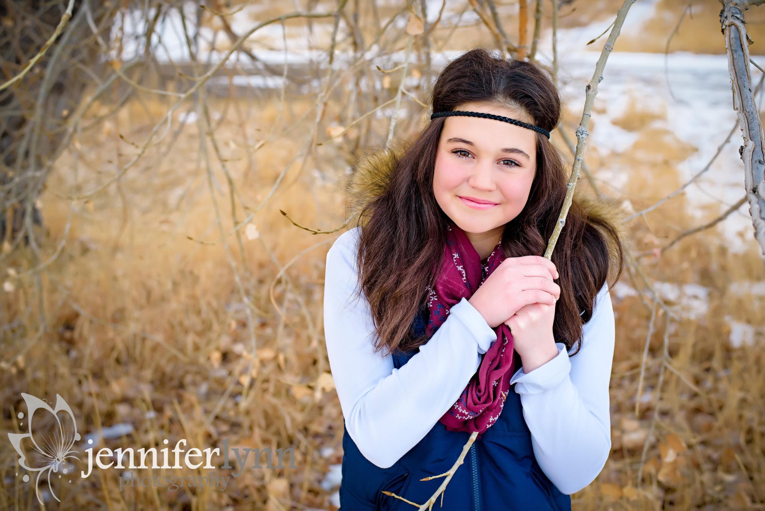 Daughter Outdoor Portrait near Woods