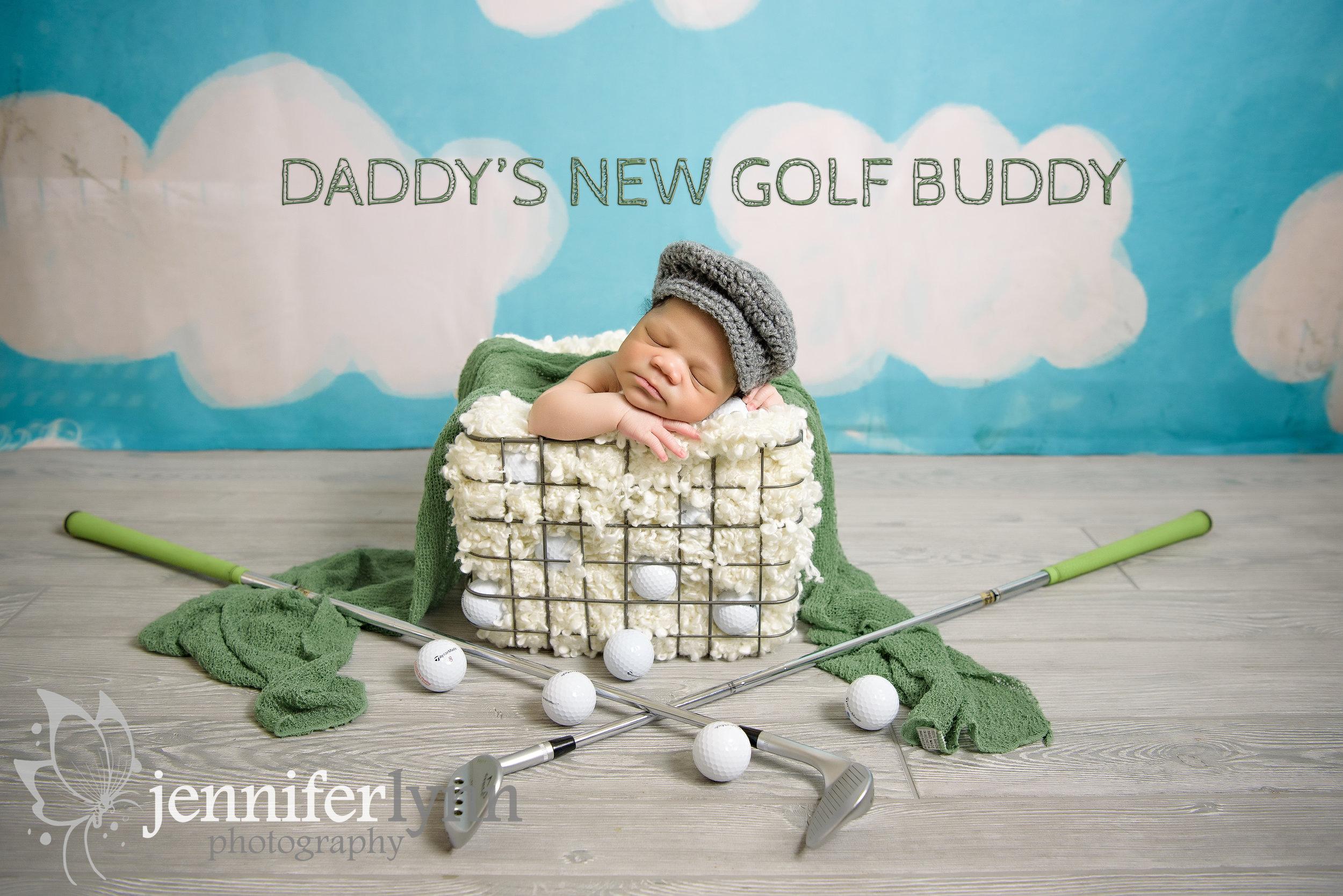Golf Themed Newborn Boy In Basket
