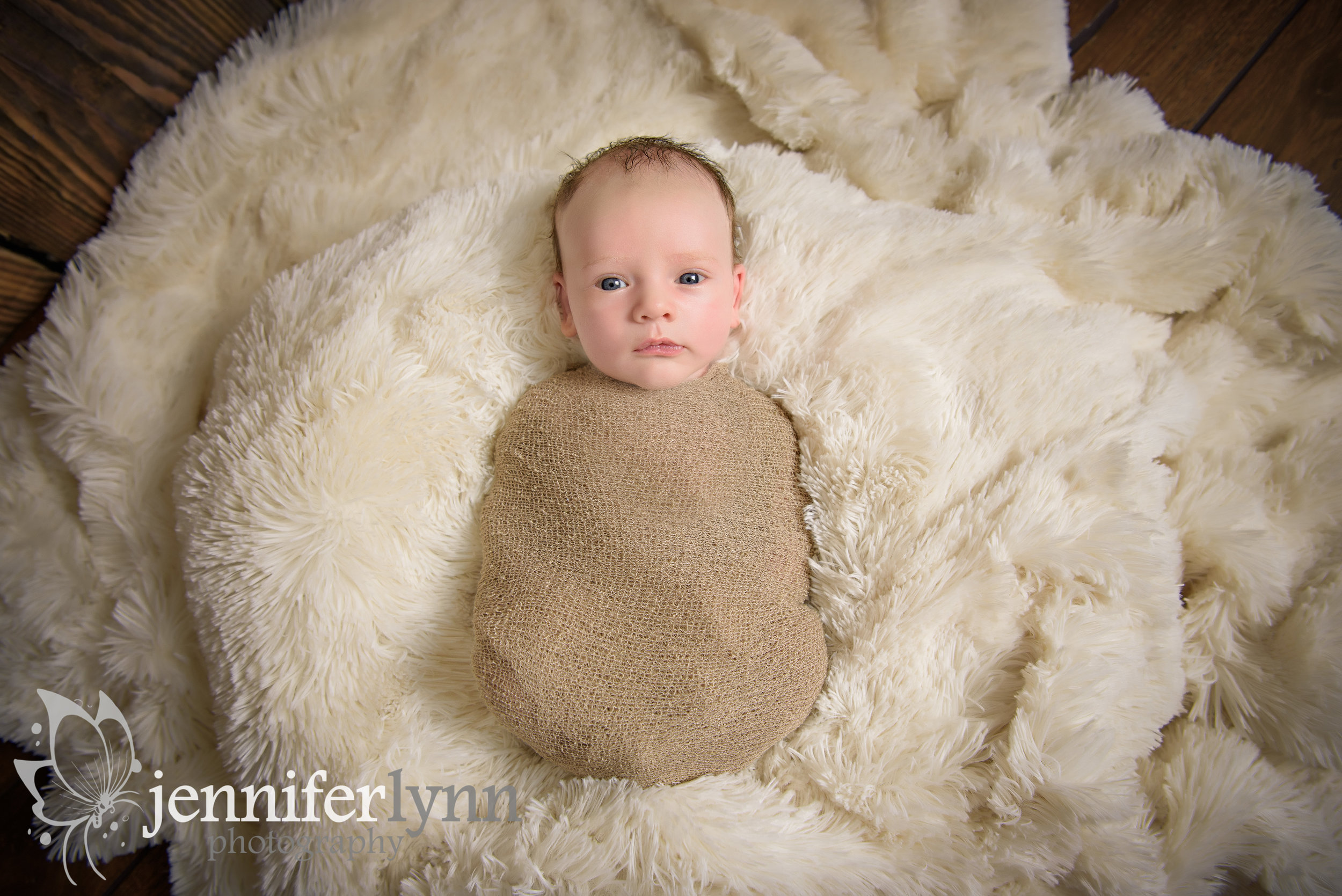 Newborn Boy Fur Awake Blue Eyes