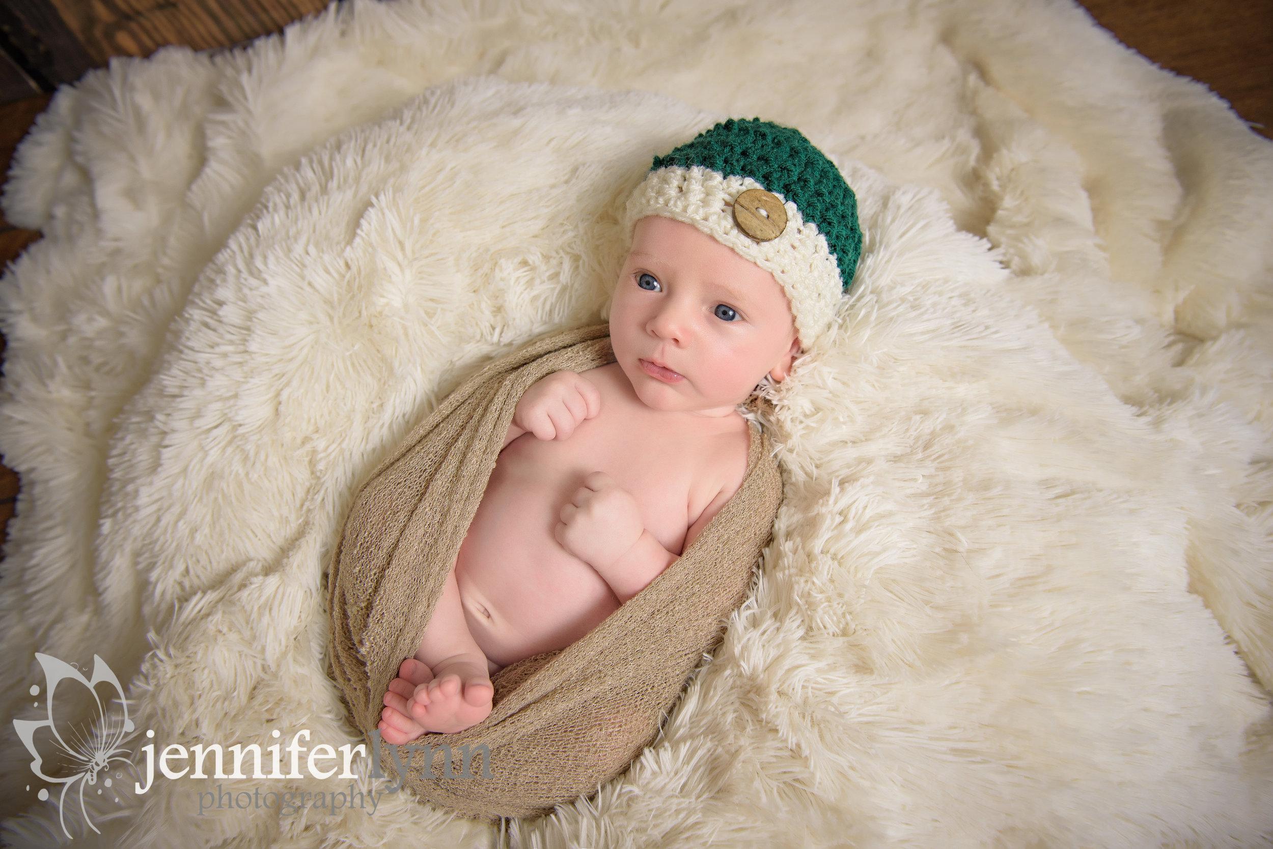 Newborn Boy Wrap on Fur
