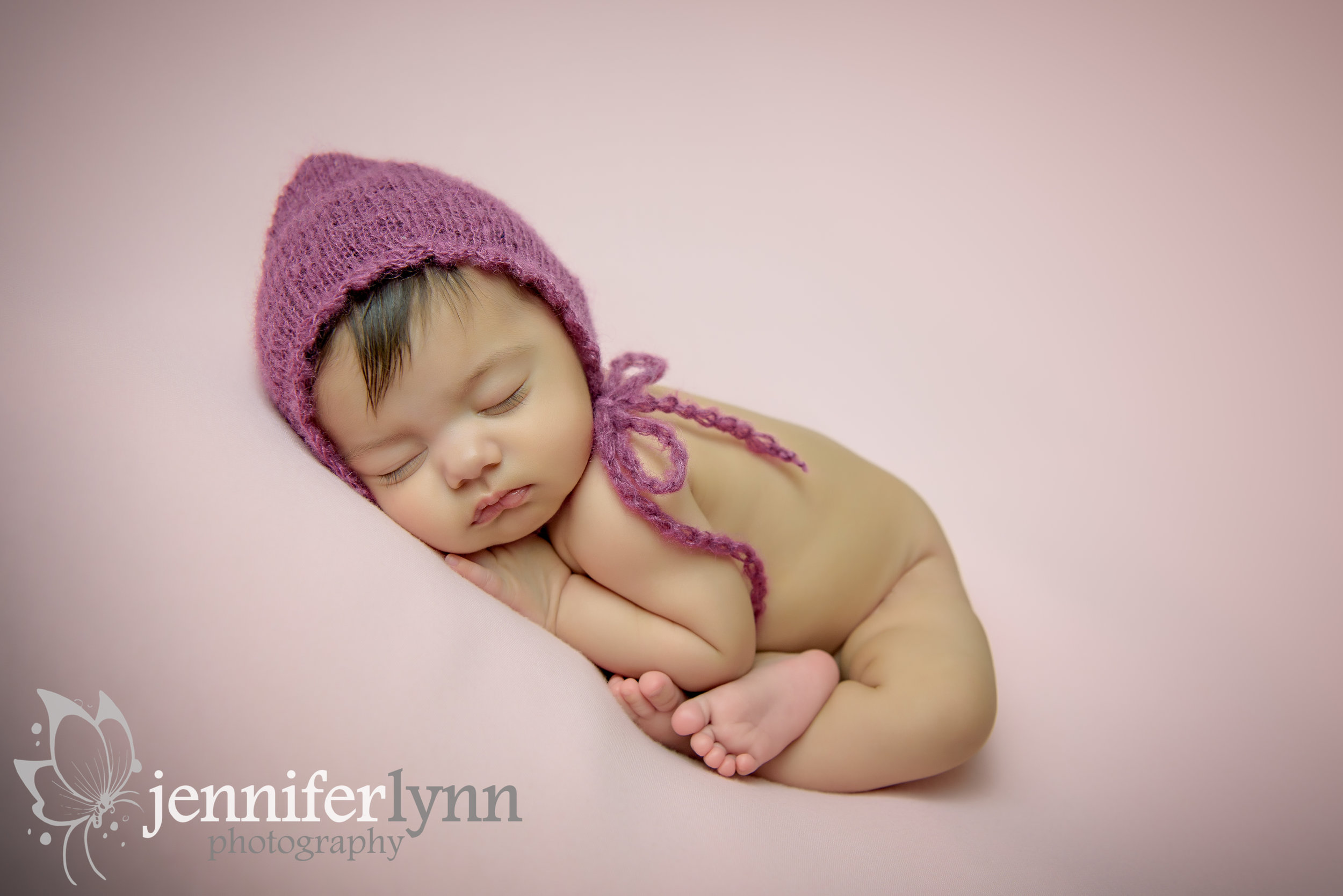 Newborn Girl Taco Wrap Pink Bonnet