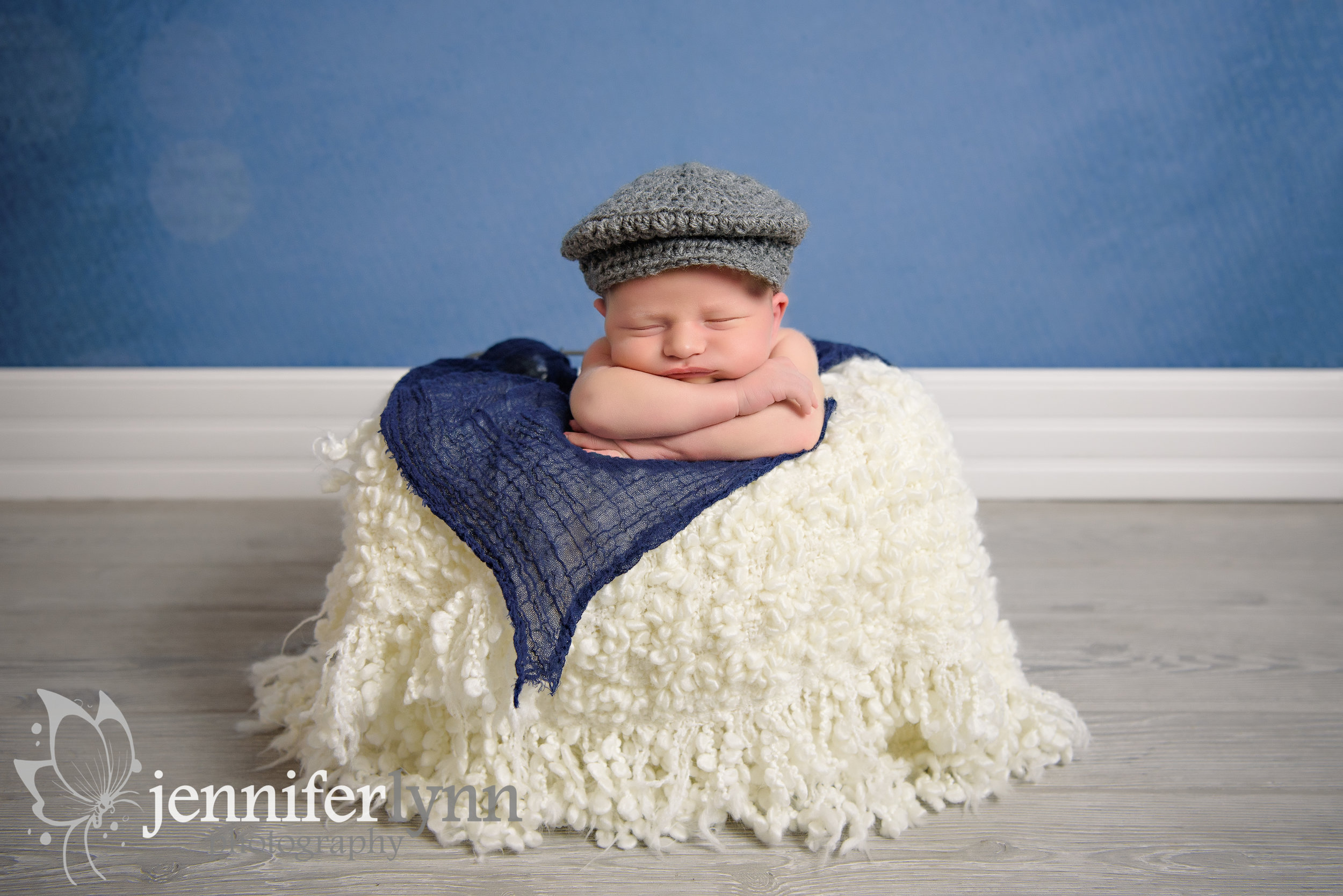 Newborn Boy Basket Newsboy Hat