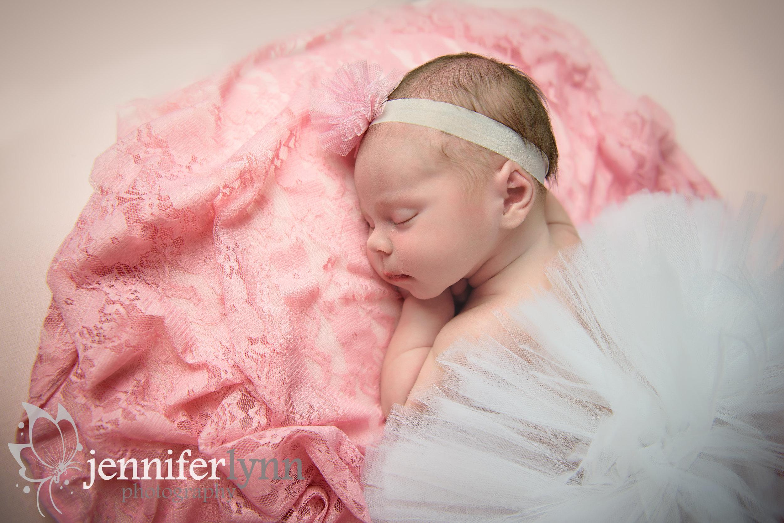 Newborn Girl Tutu on Pink Lace