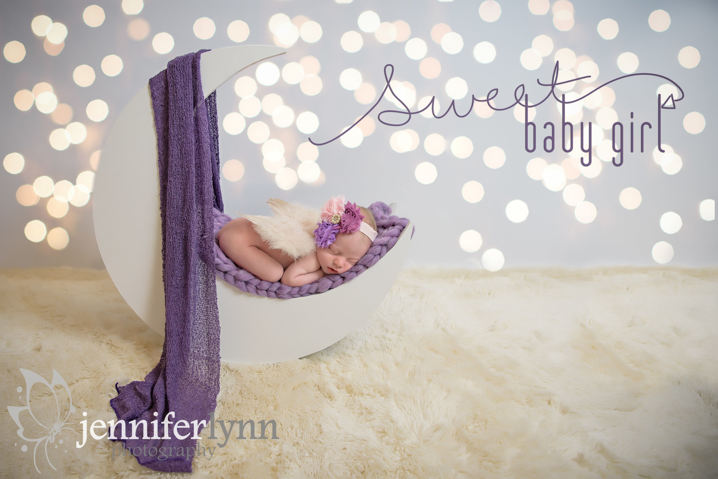 Newborn Girl Moon Prop Purple