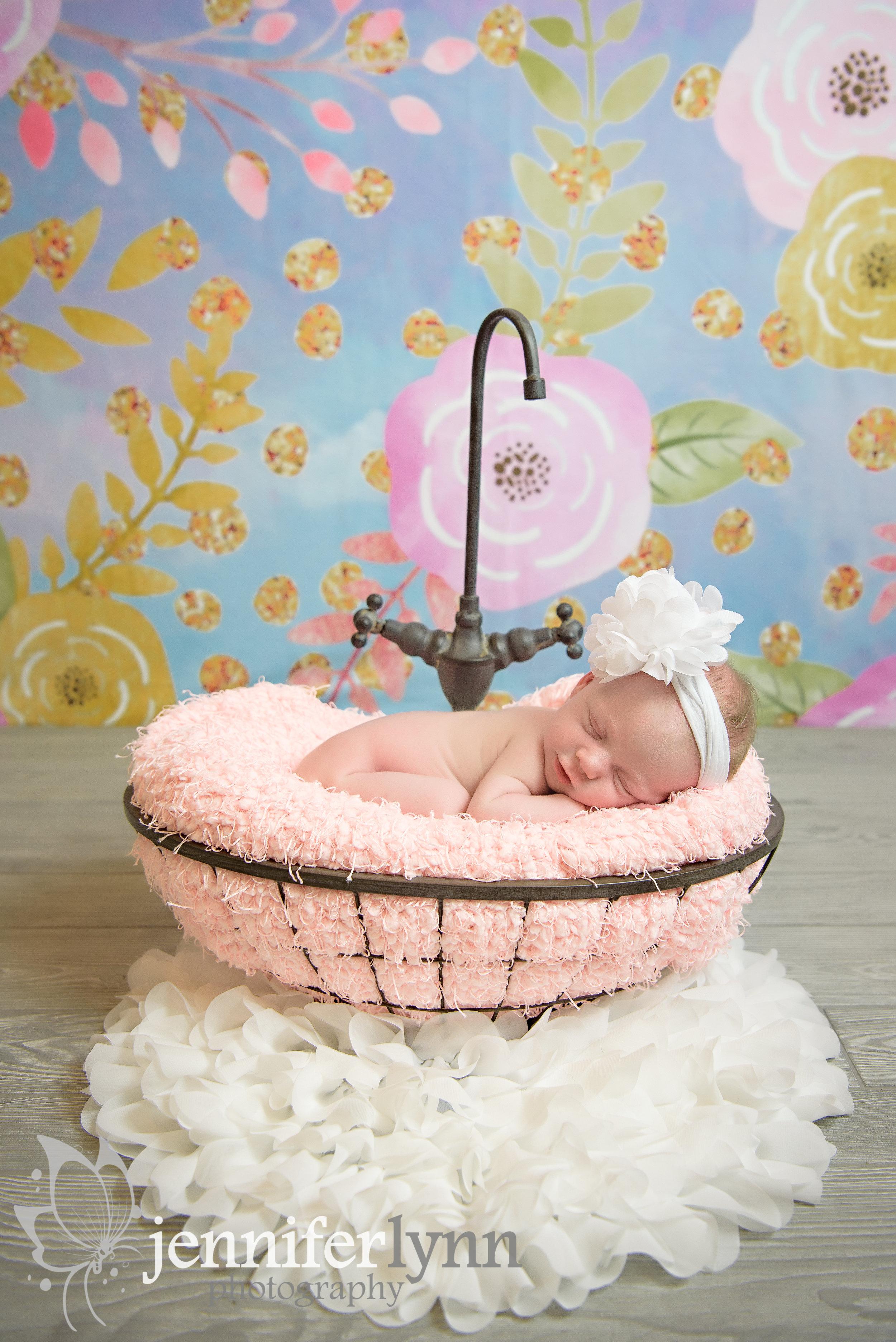 Newborn Girl Flowers Sink