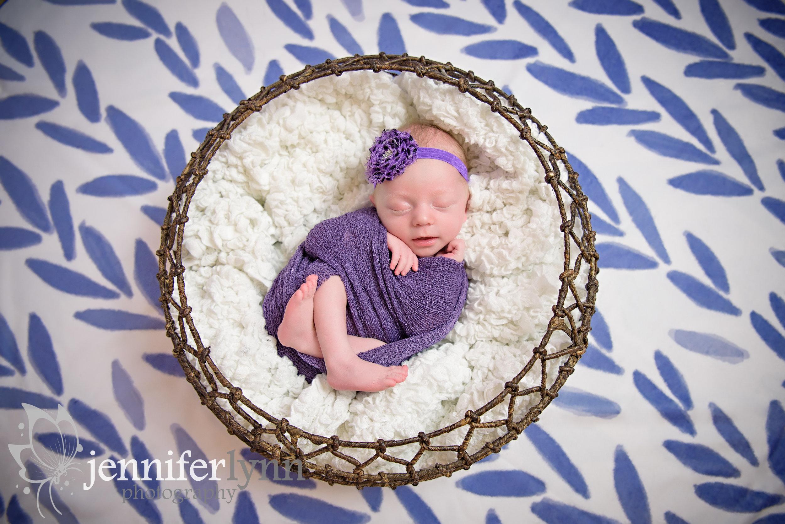 Newborn Girl Purple Basket Wrap