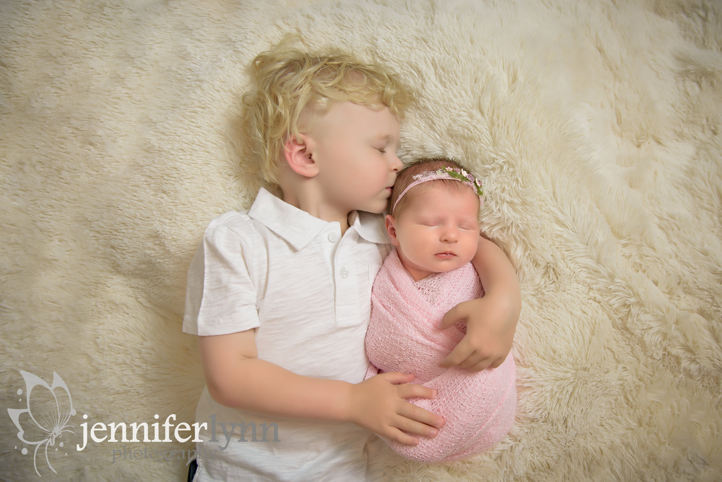 Brother and Newborn Sister Photo