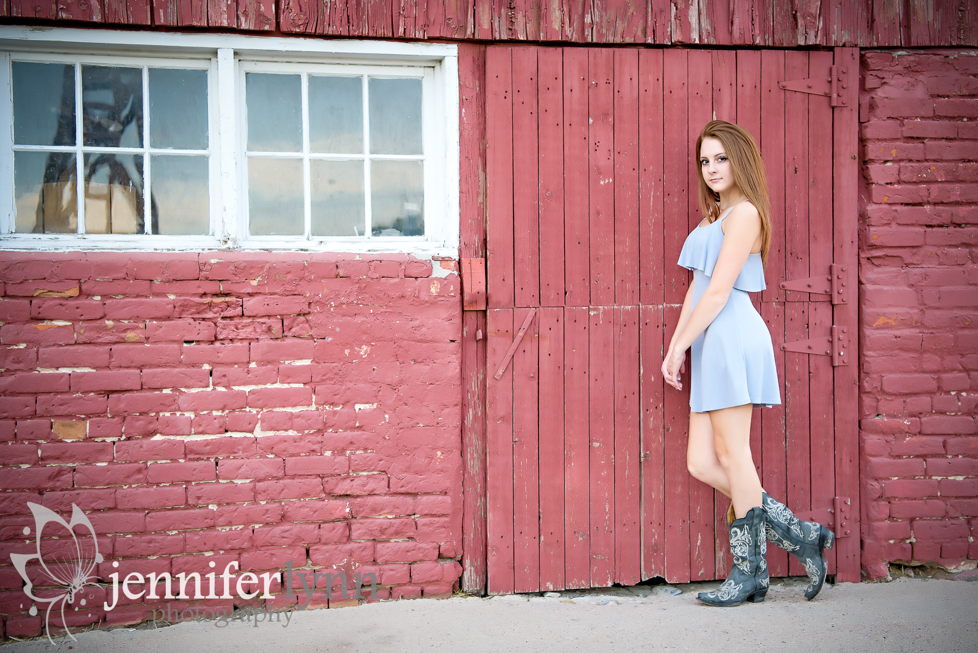 Senior Girl Red Barn Blue Dress