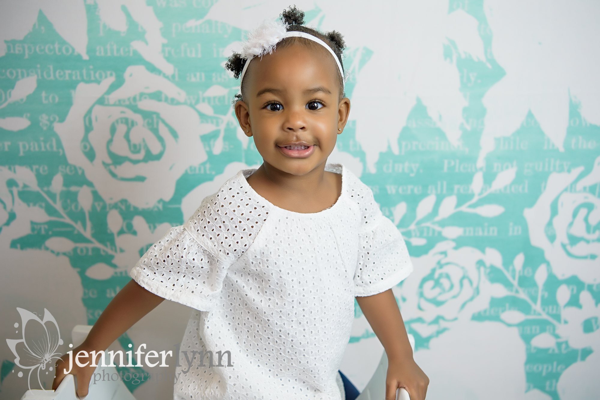 Toddler White And Teal Bench