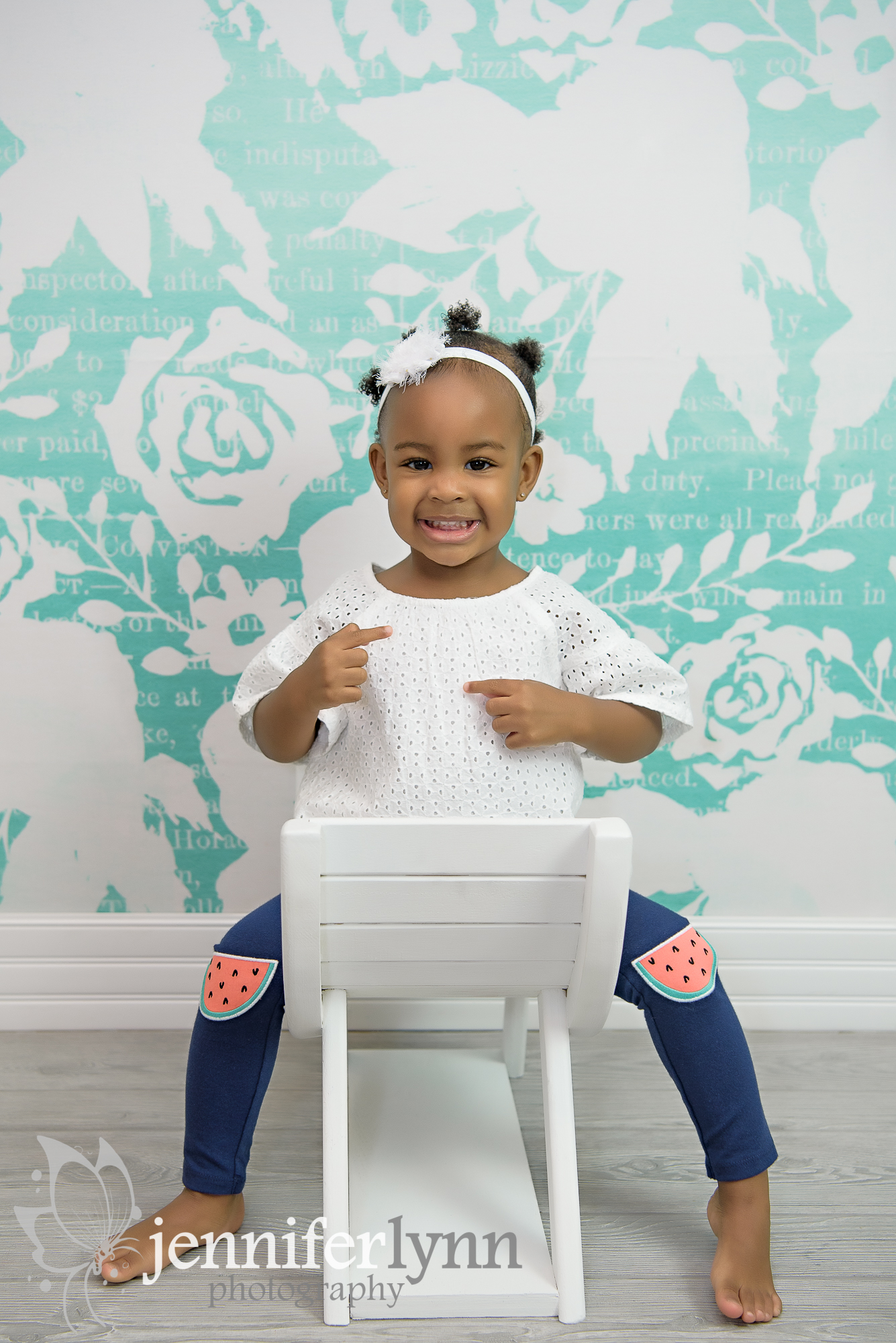 Toddler White Lace Teal Flowers