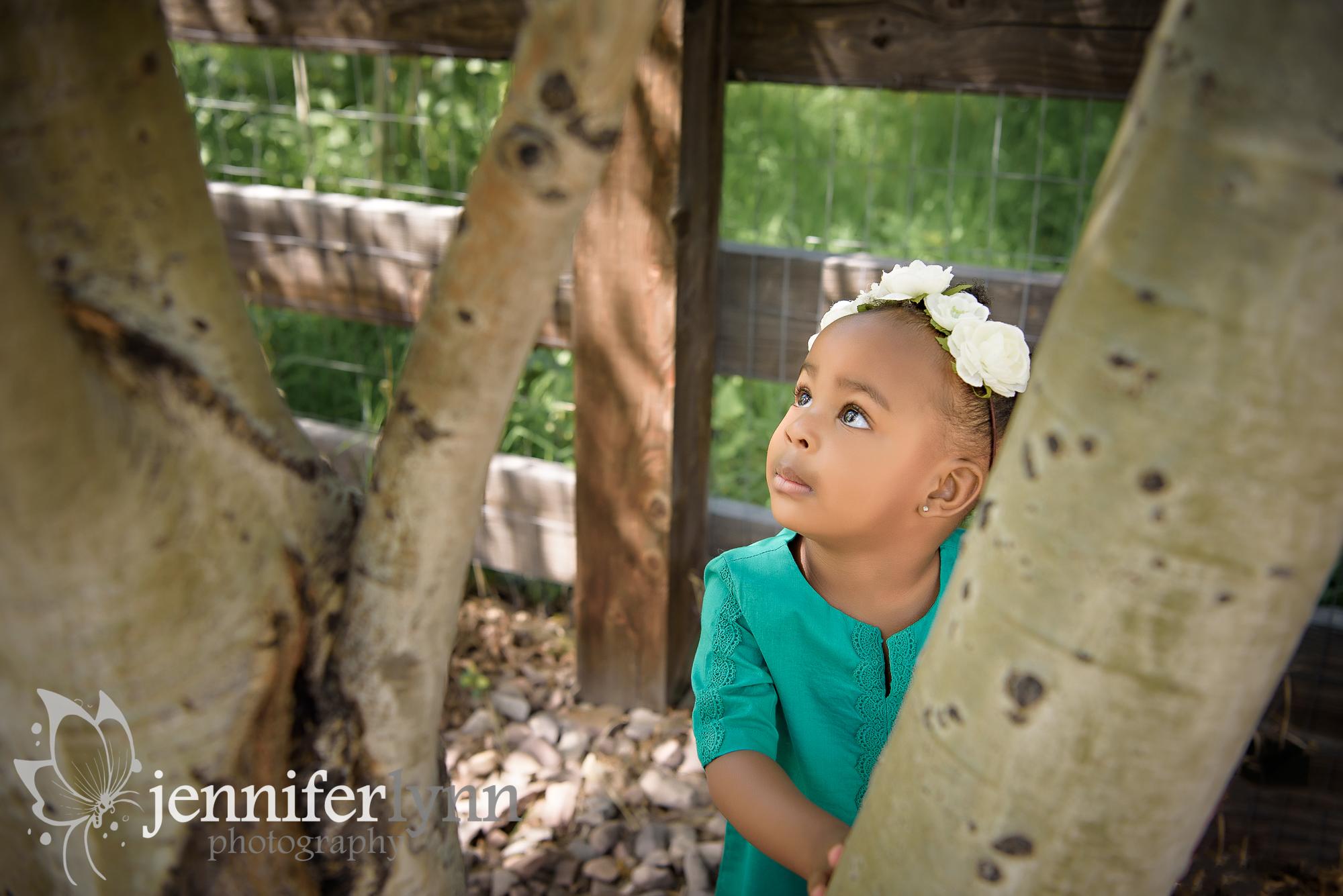 Toddler Girl Outside Aspens Gazing at Light