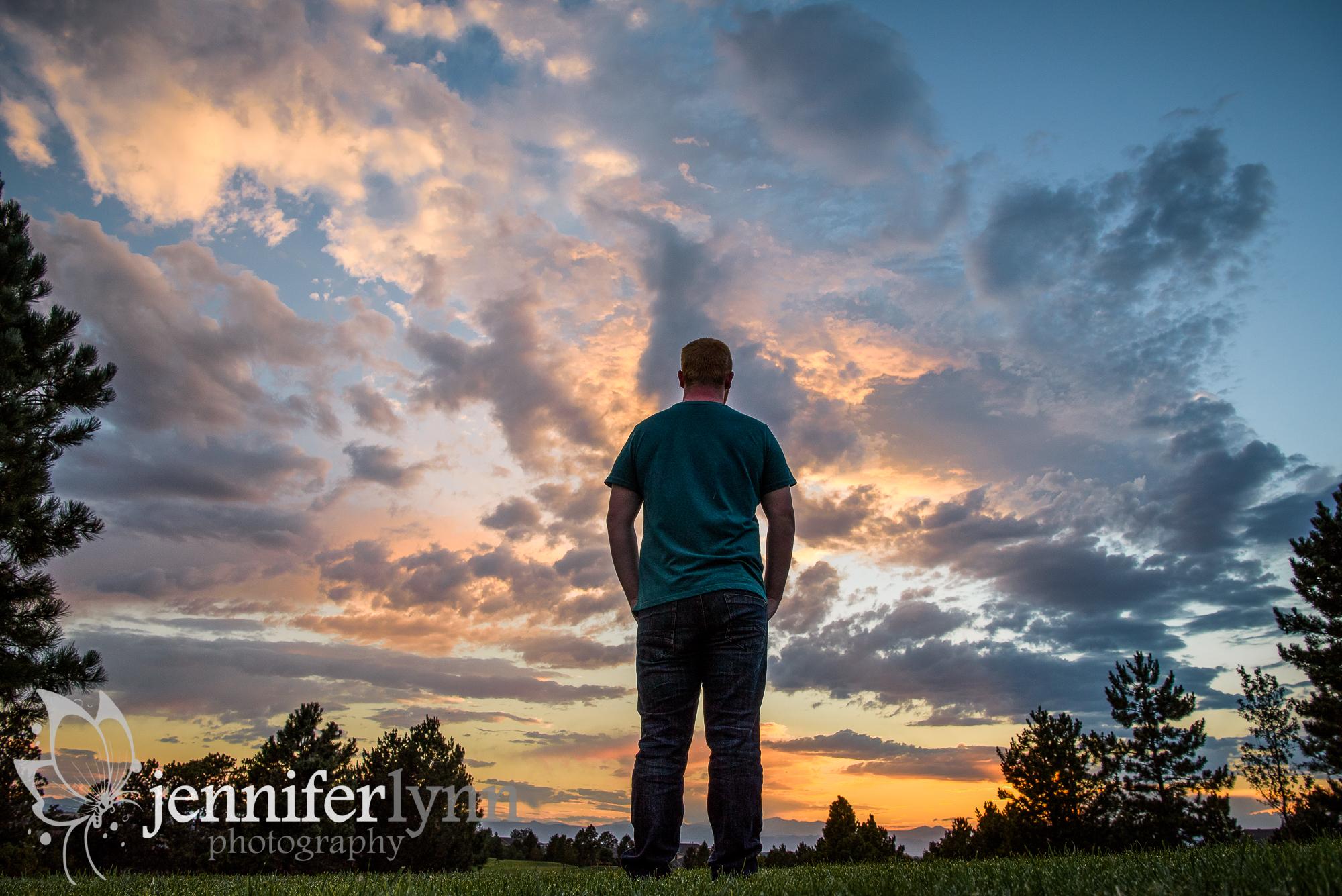 Senior Boy Silhouette Colorado Sunset Mountains