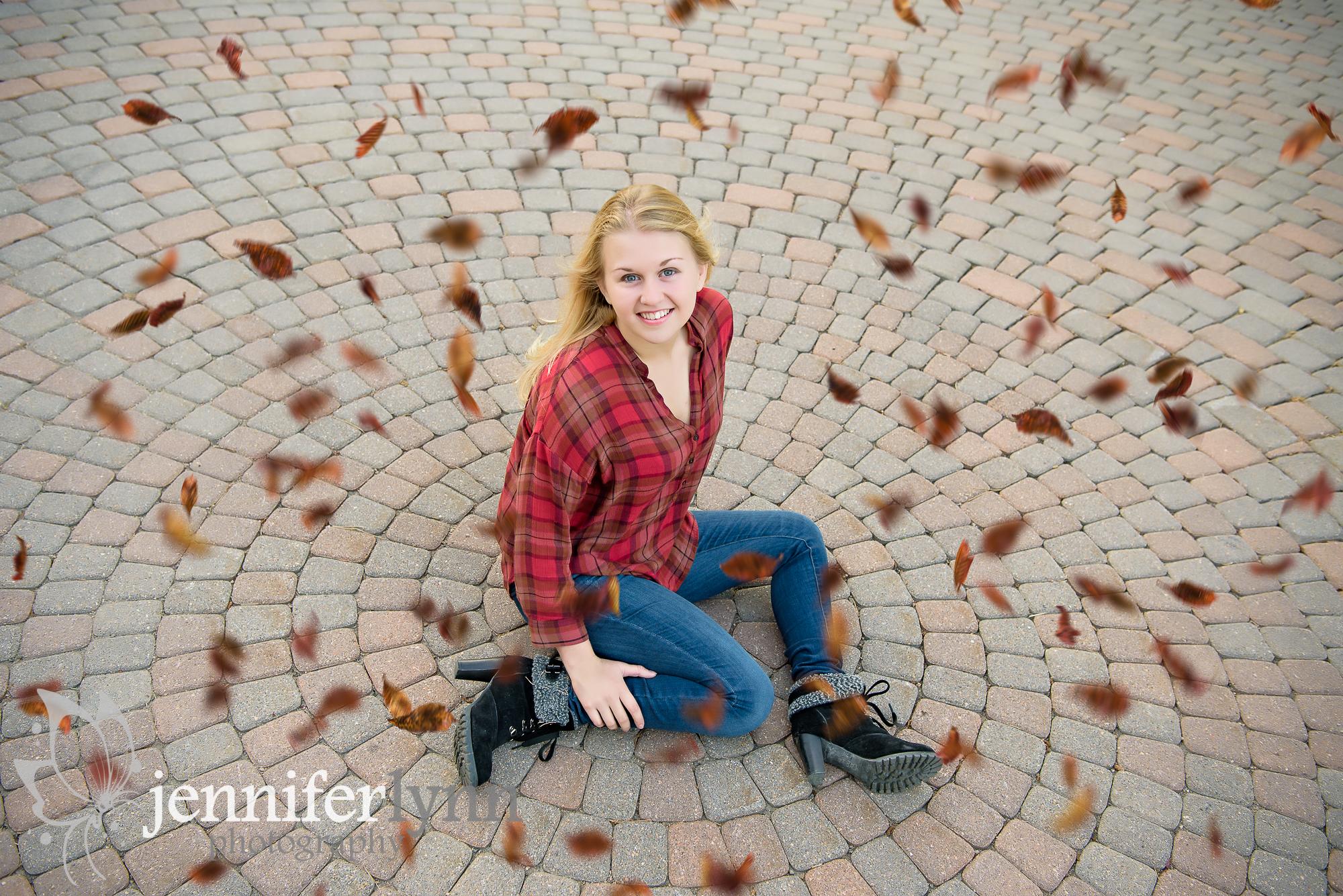 Senior Girl Circle Stone Mosaic Fall Leaves