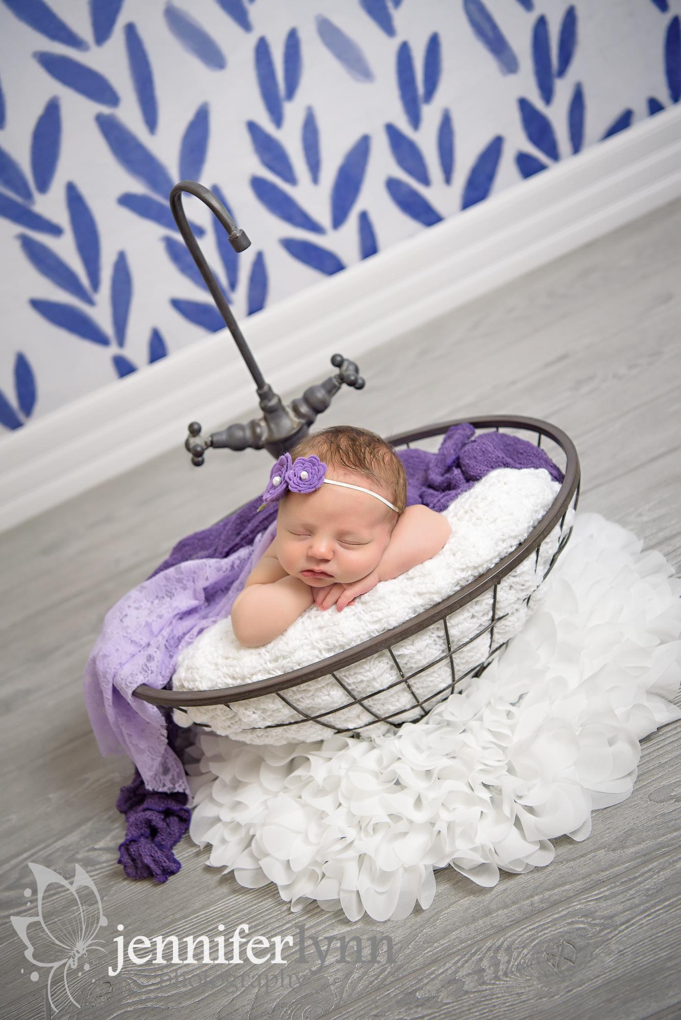 Purple Sink Basket Prop Newborn Girl