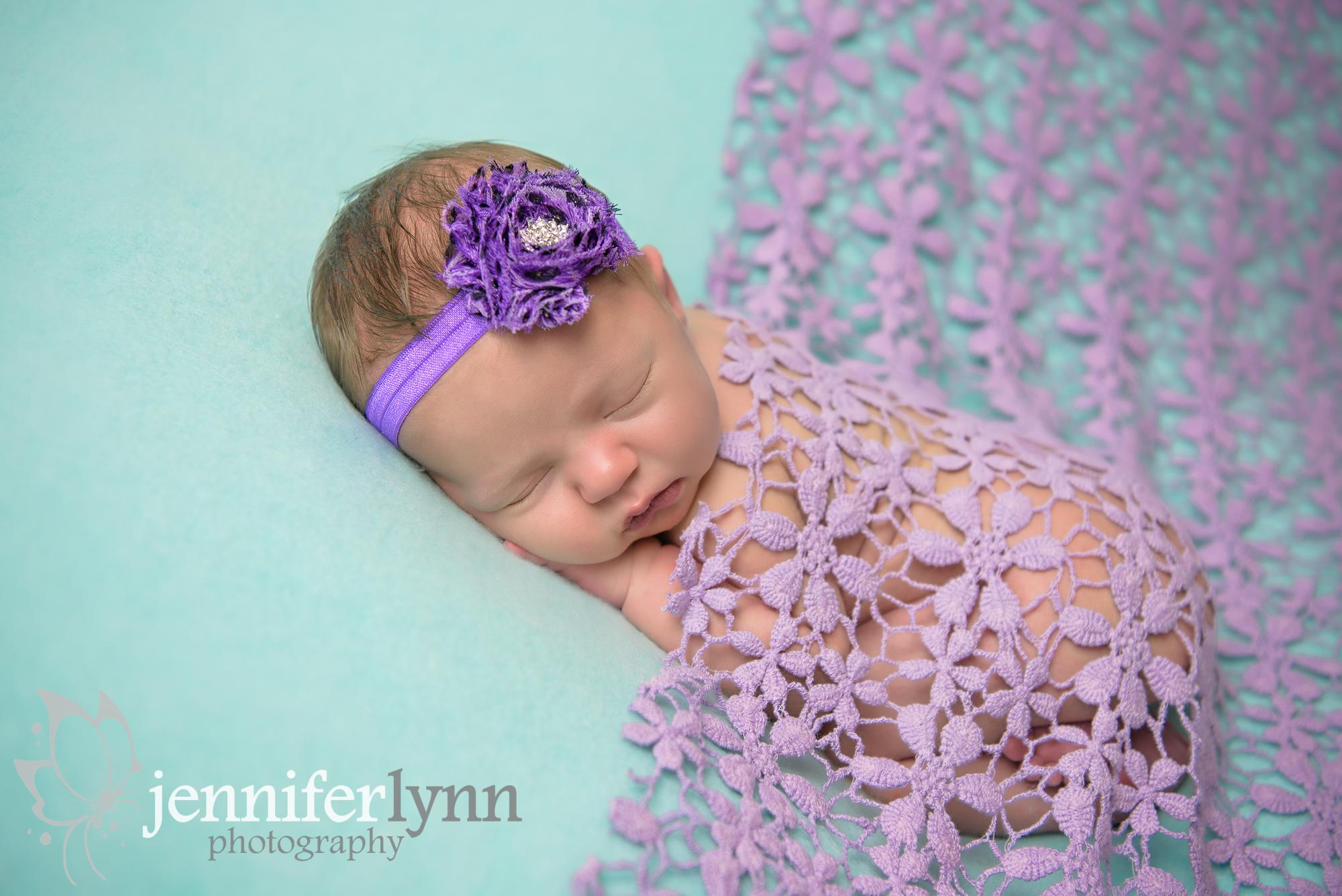 Newborn Girl Purple Lace Mint Fabric