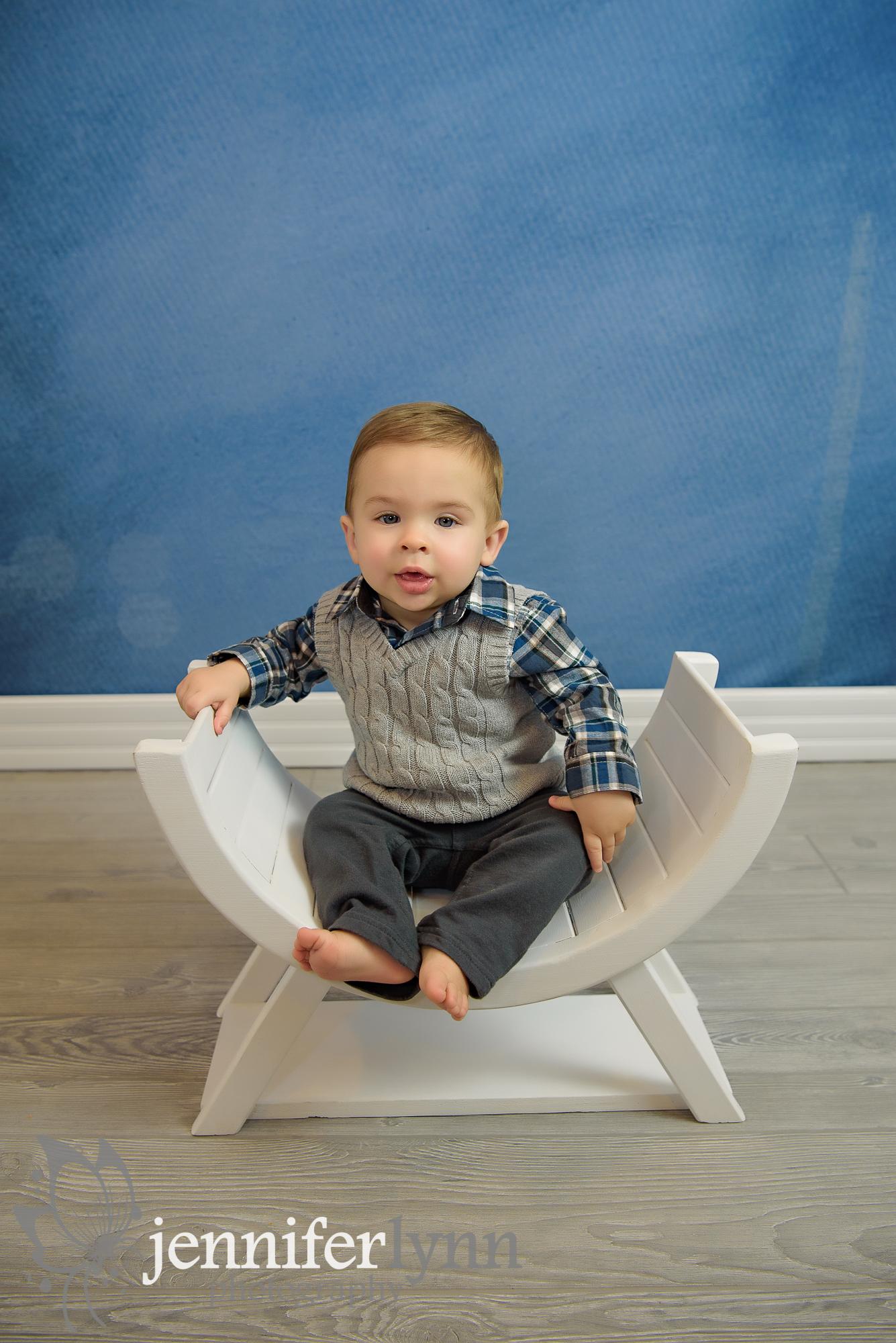 Baby Boy Sitting U Bench