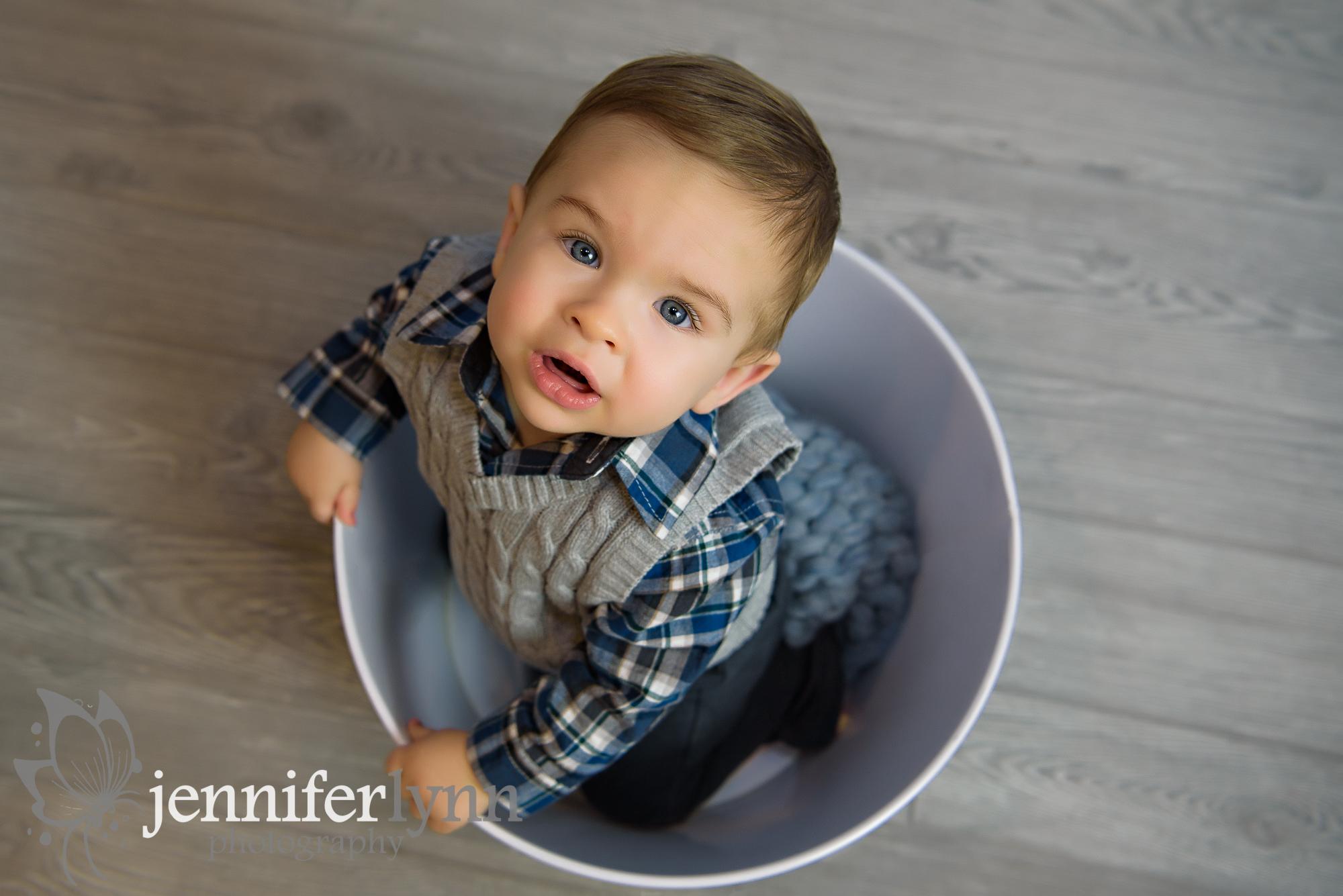 Overhead Baby Boy In a Bucket