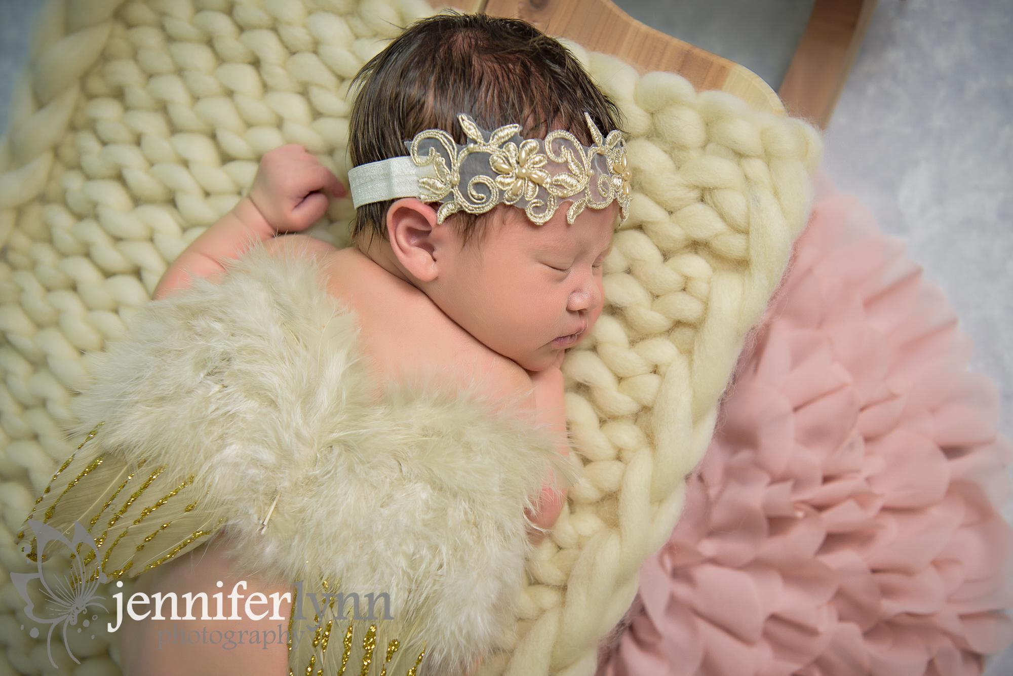 Newborn Girl Angel Wings Gold