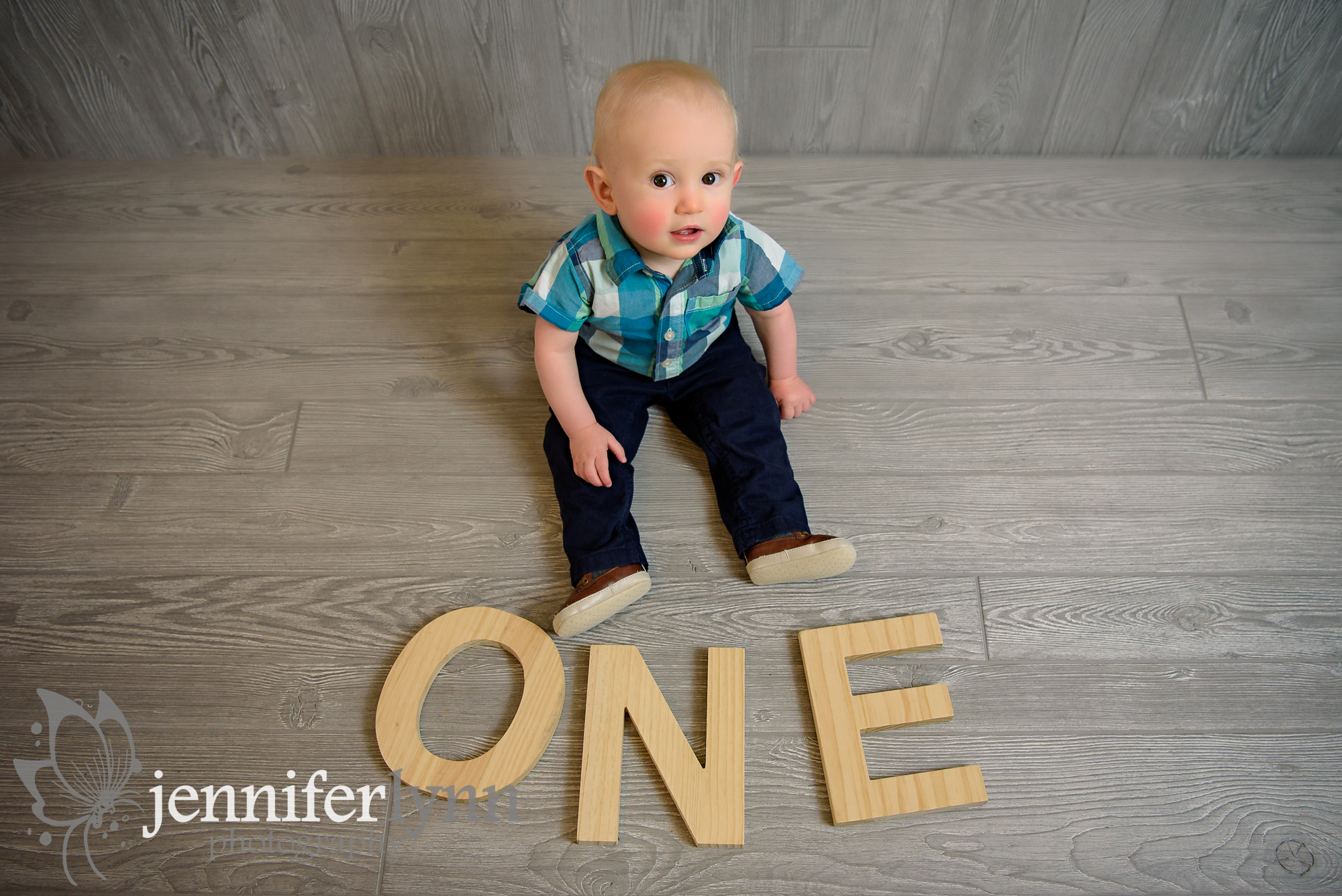 Baby Sitting Next to ONE Wooden Letters