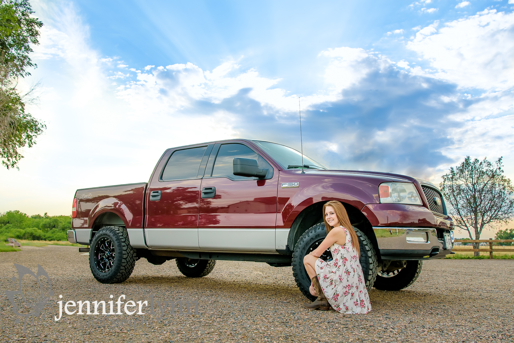 Senior Girl Cowgirl Boots Truck Sky