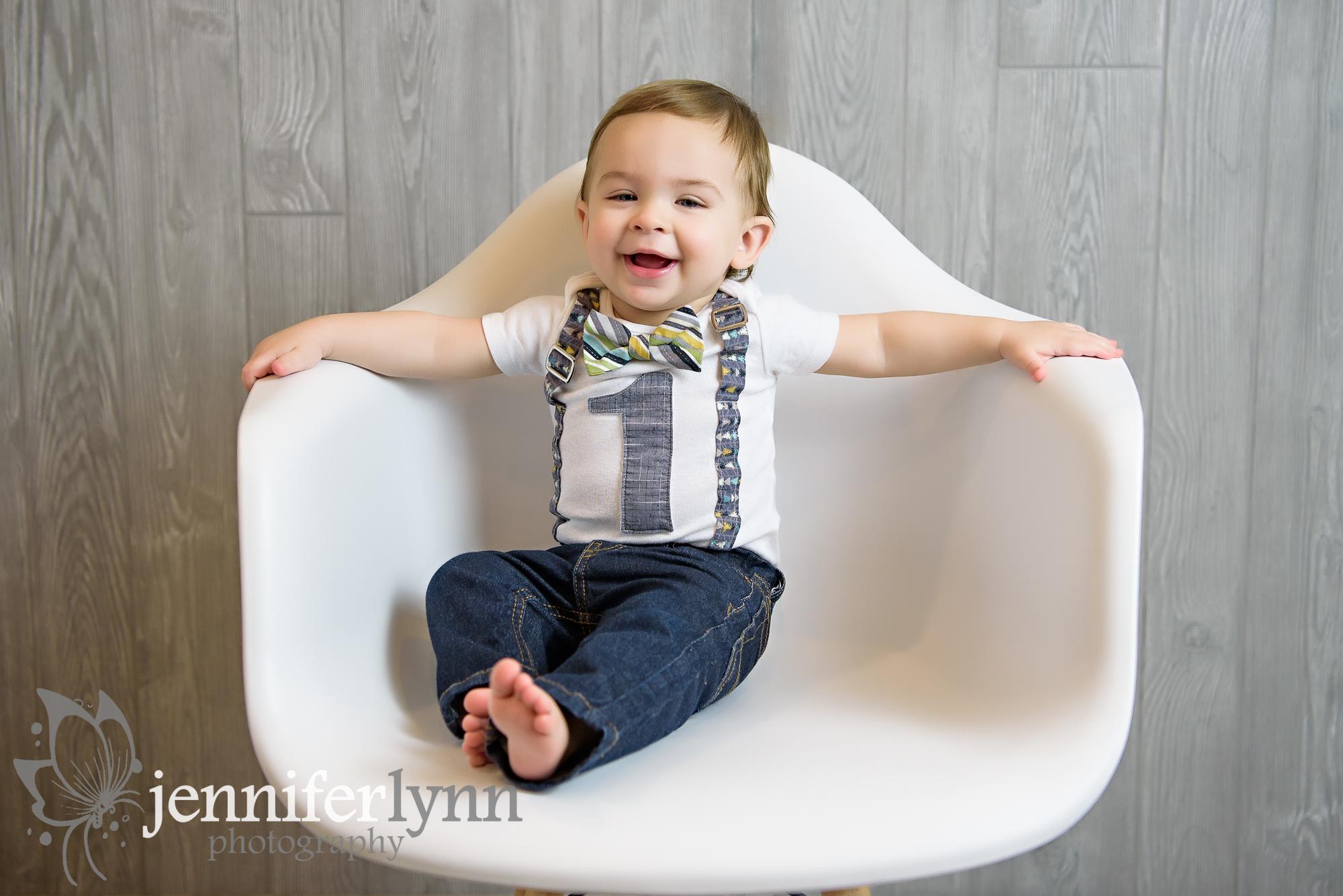 Baby Boy First Birthday White Chair