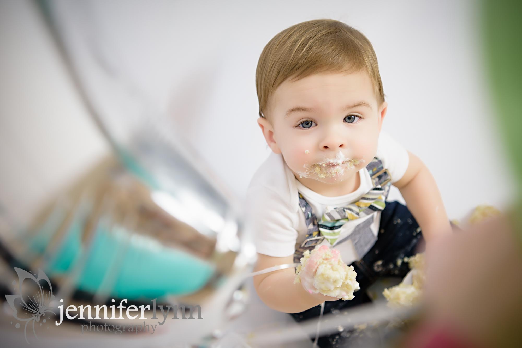Baby Boy Eating Cake During Smash