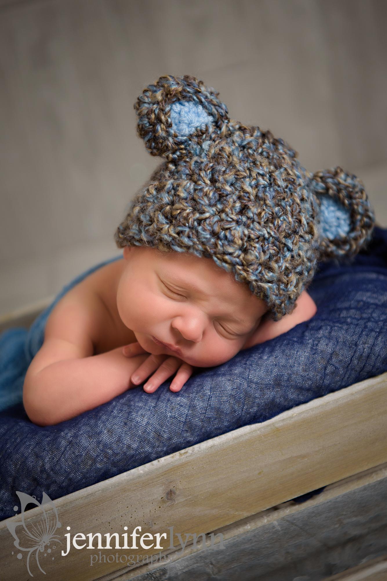 Newborn Boy Bear Hat Crate Box