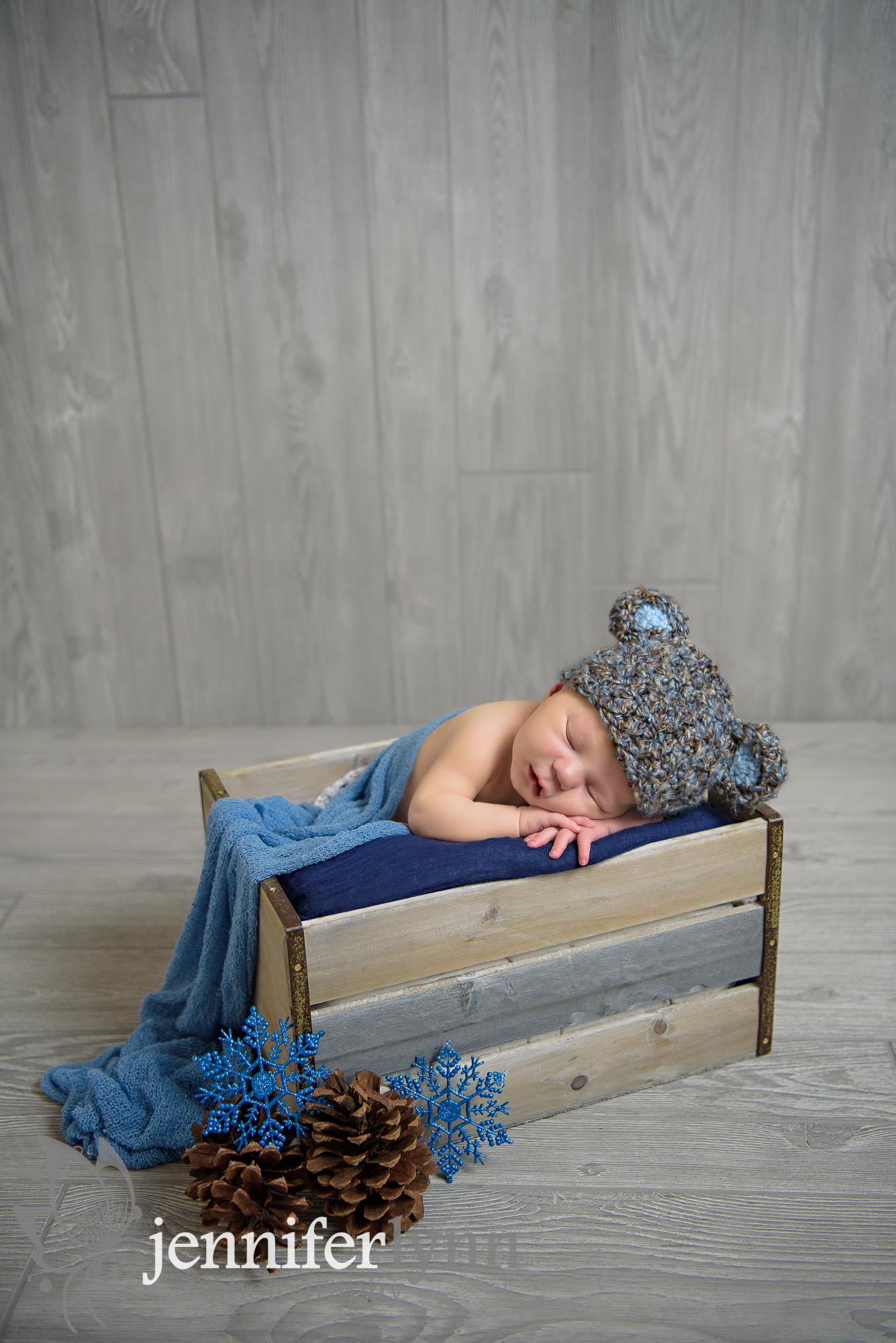 Newborn Boy Bear Hat Crate Snowflakes Pinecones