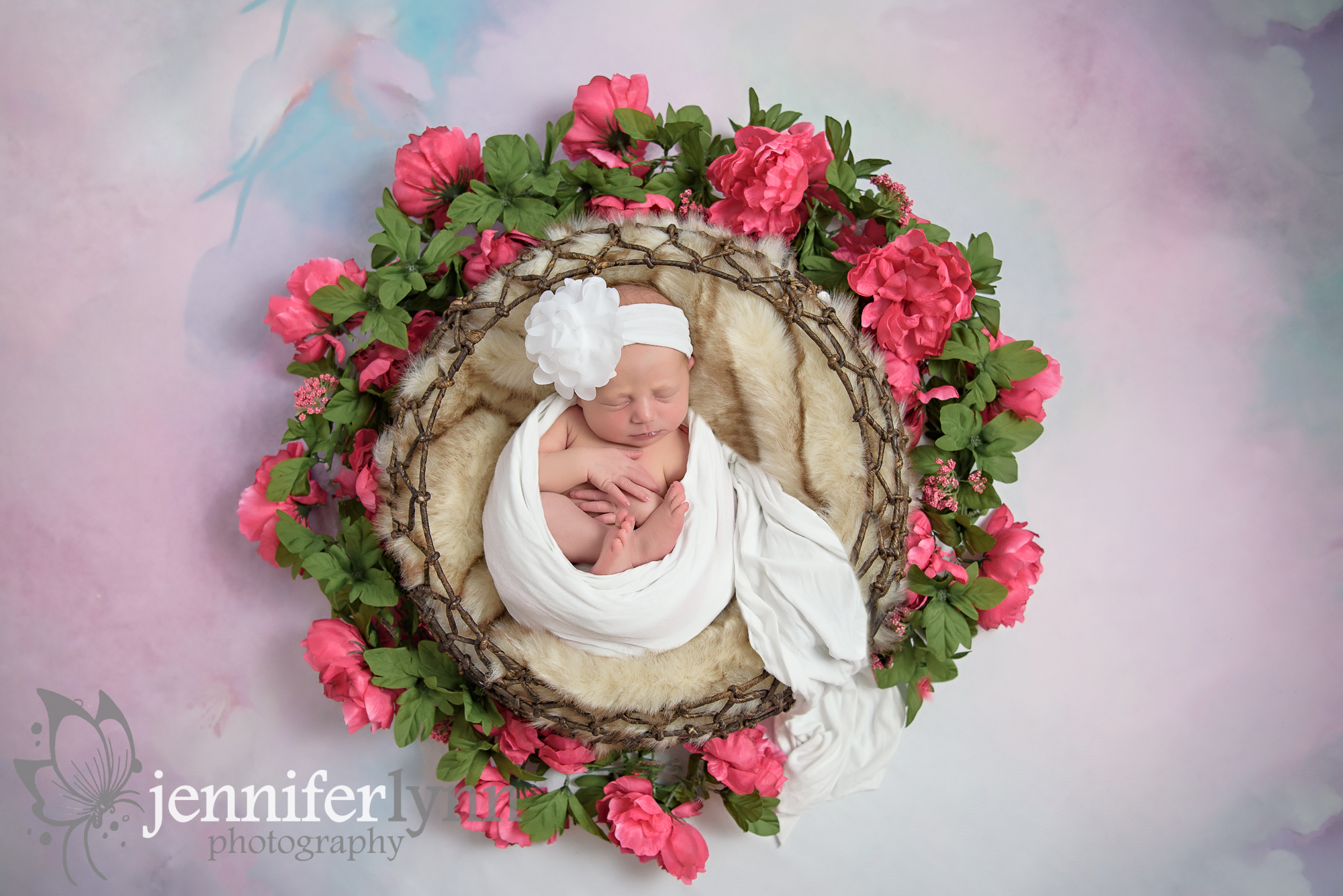 Newborn Girl Circle Basket Roses Flowers