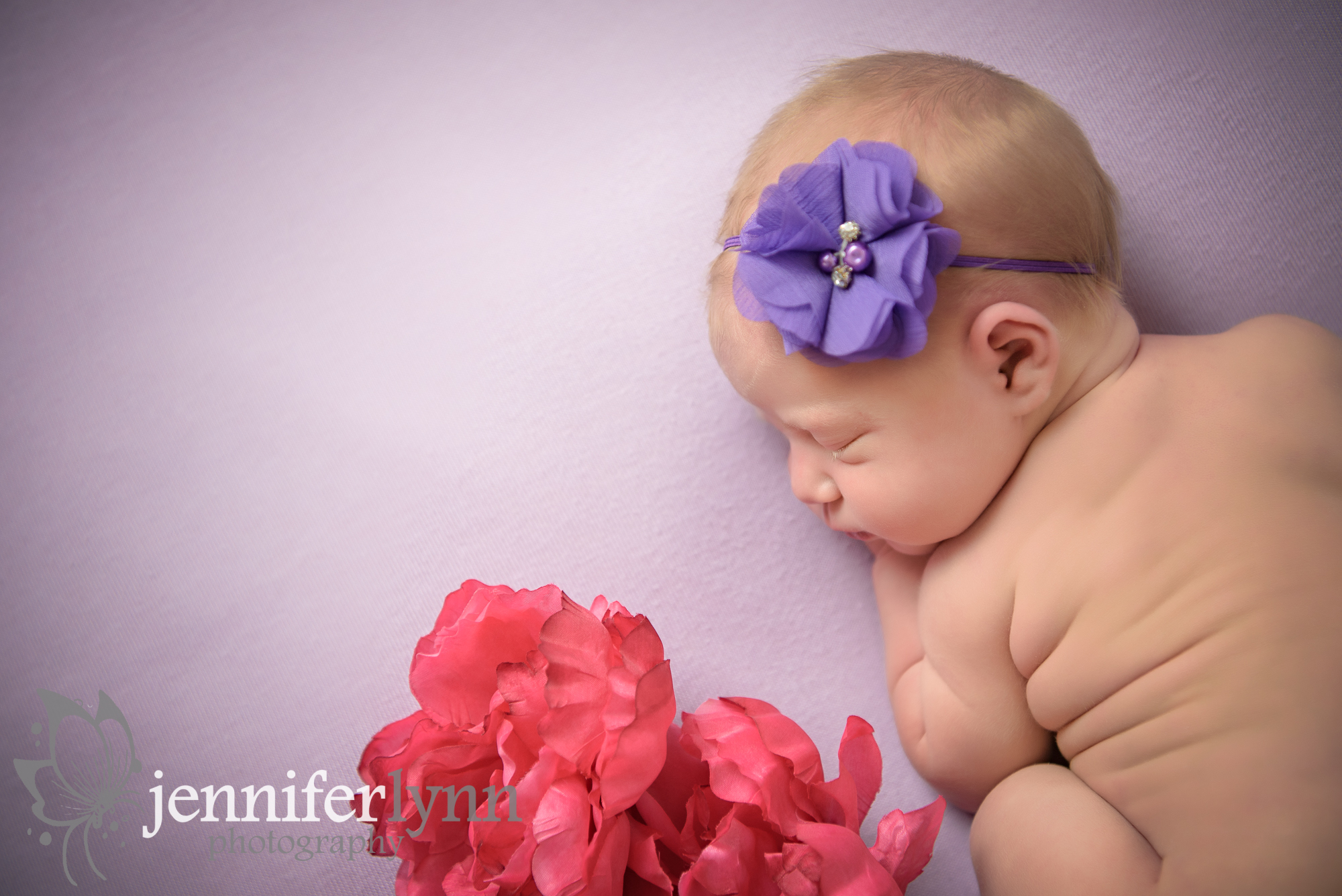 Newborn Girl Purple Fabric Pink Flowers
