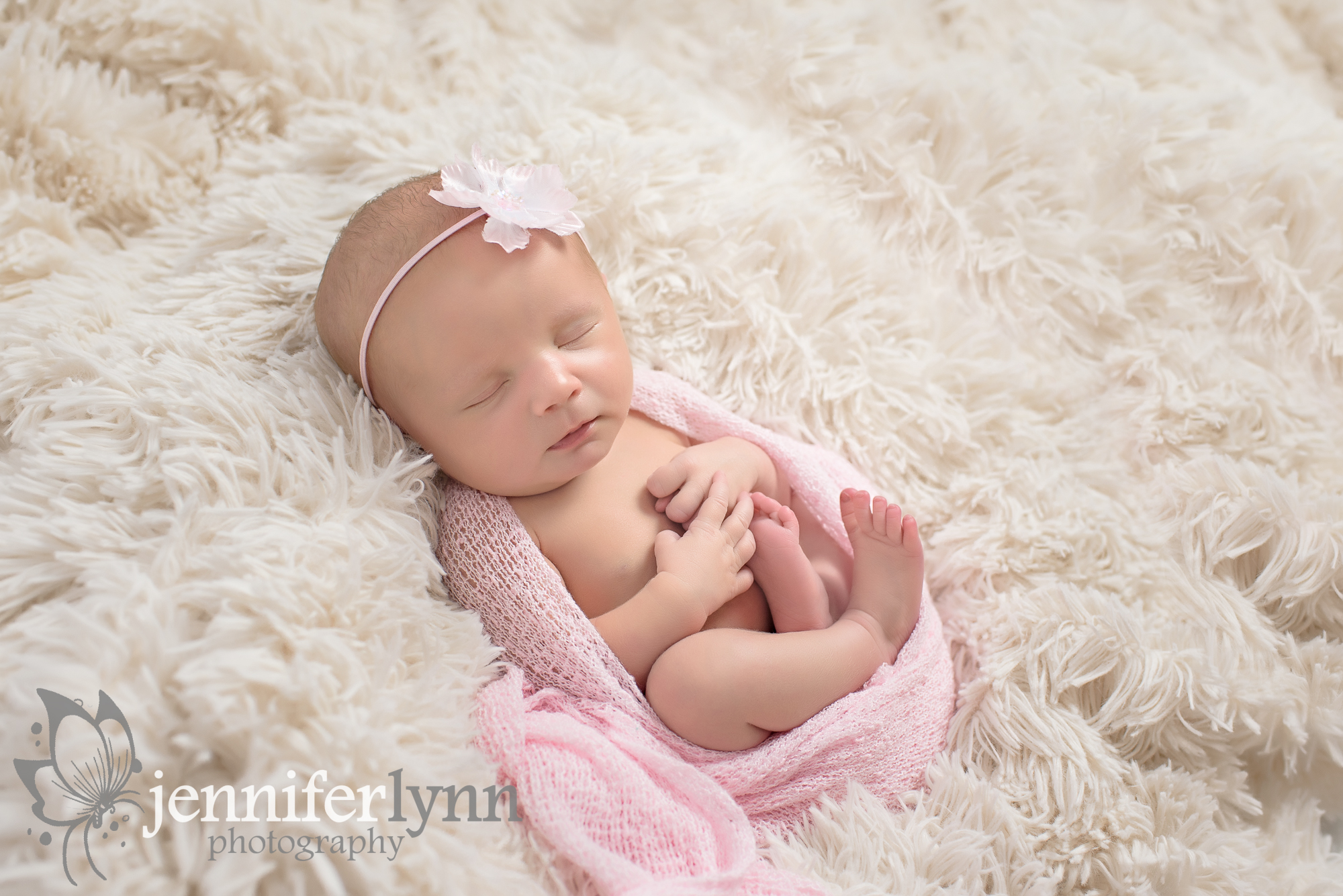 Newborn Girl Pink Wrap Soft Fur