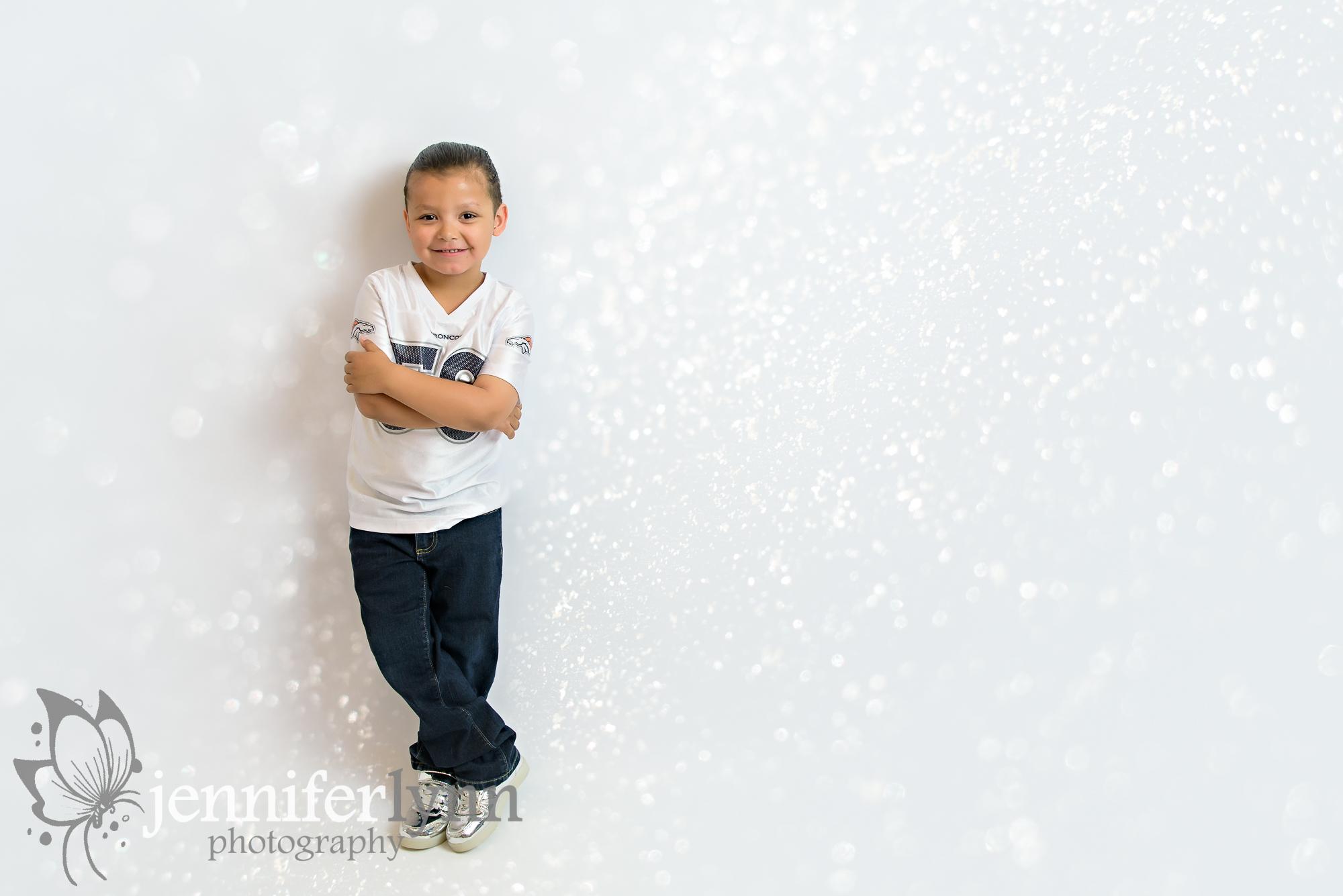 Boy Standing White Background Broncos