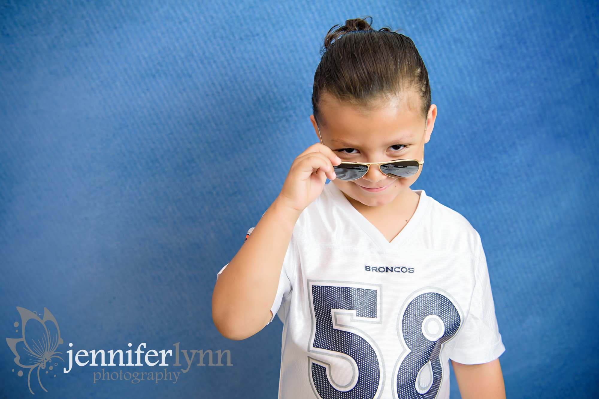 Boy Denium Background Broncos Aviators