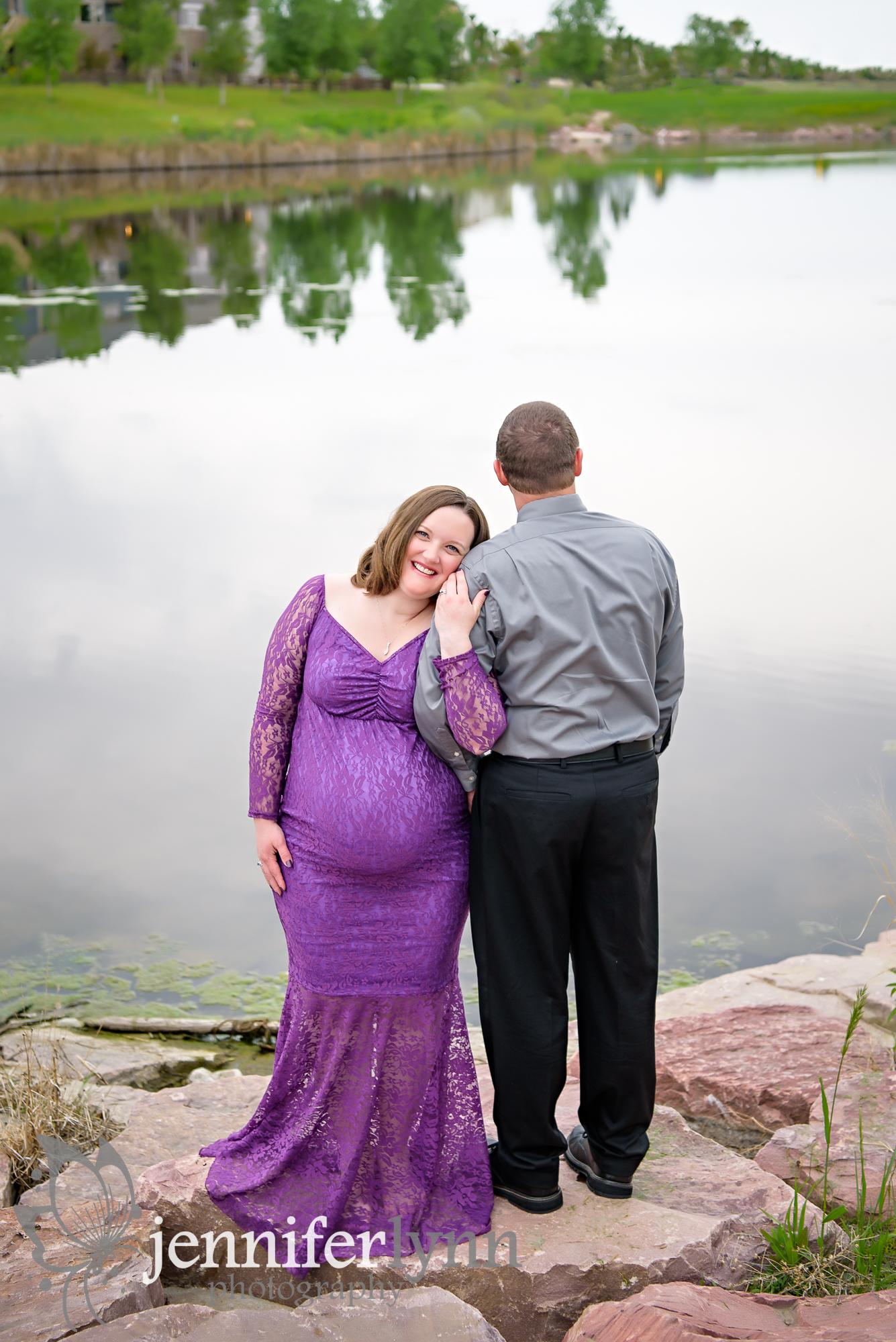 Maternity Couple Lake Outdoors