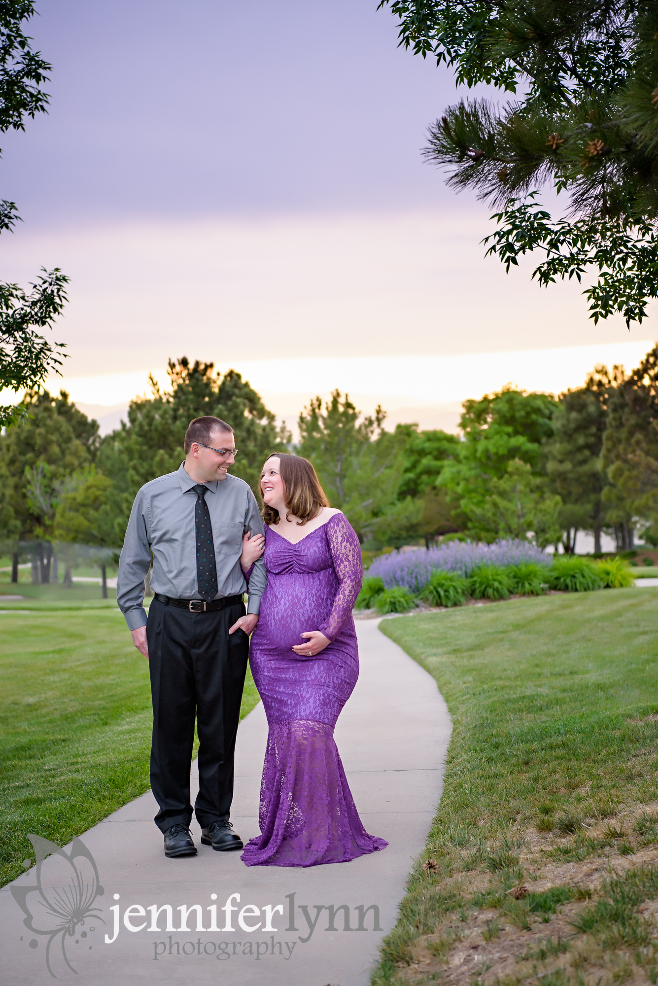 Maternity Couple Path at Sunset