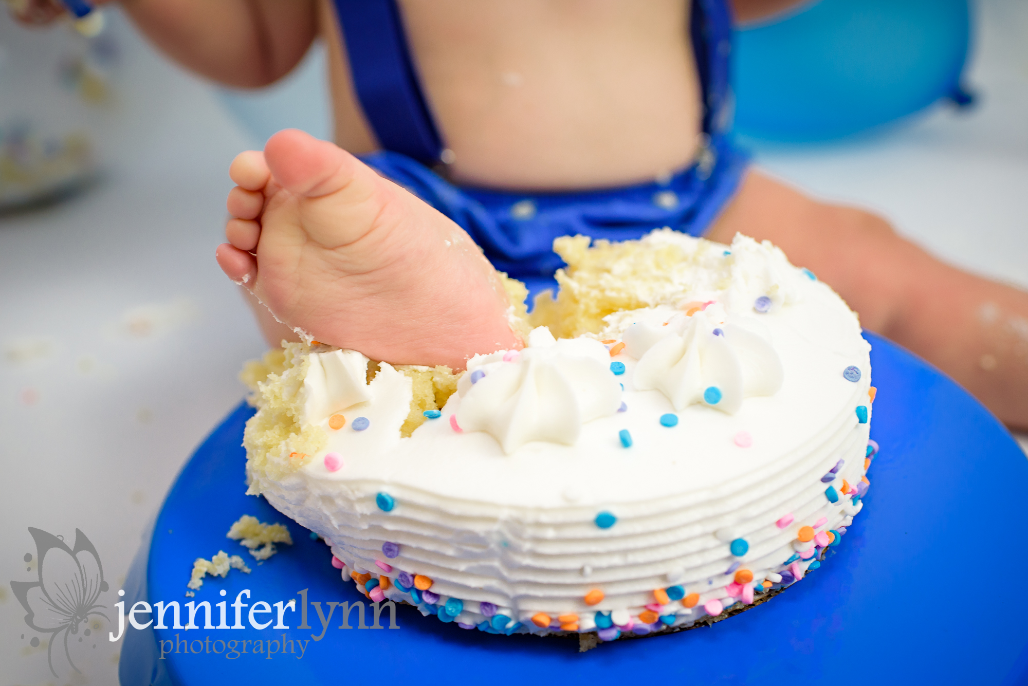 Close up of Foot in Cake