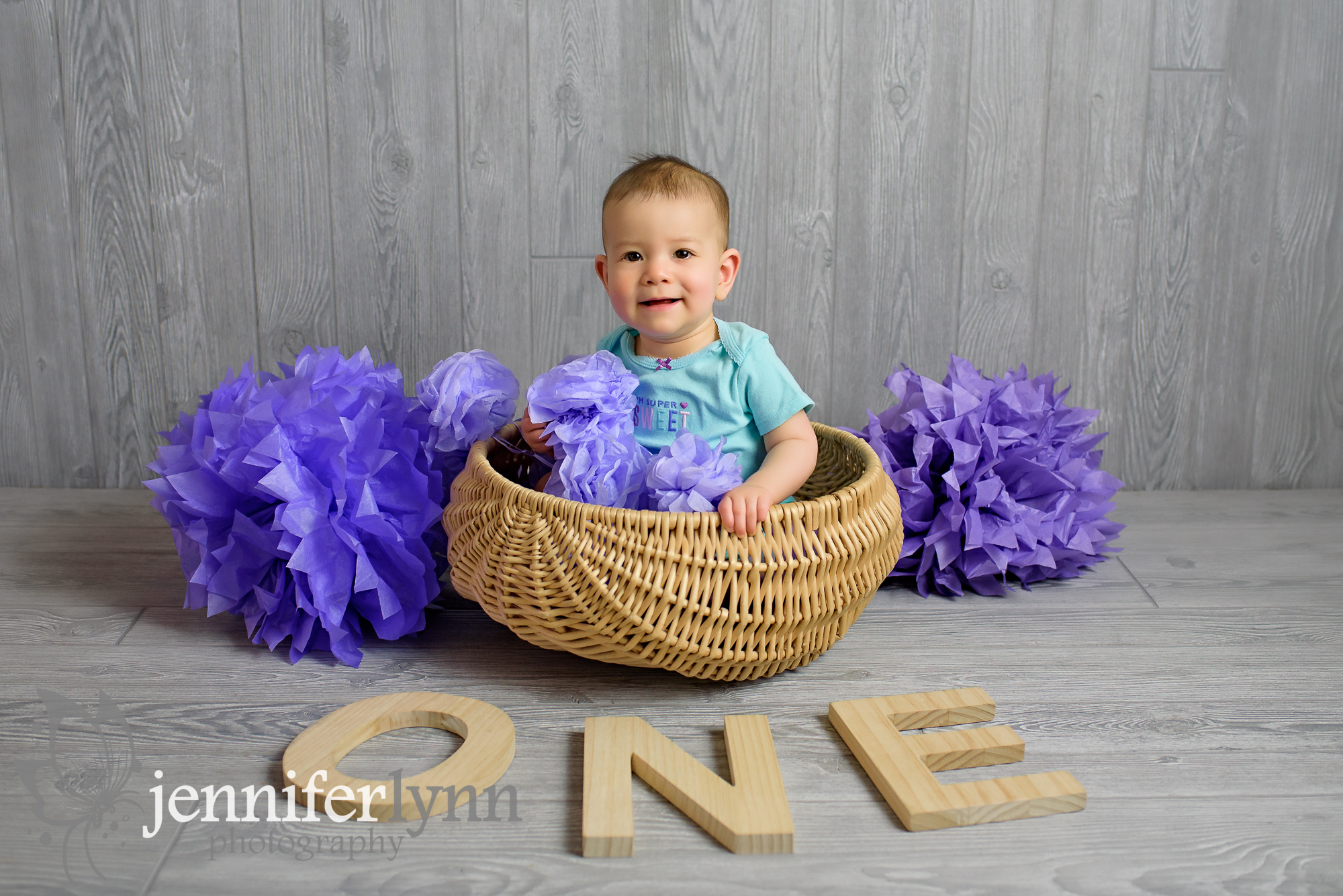 Baby Girl ONE wooden Letters Basket
