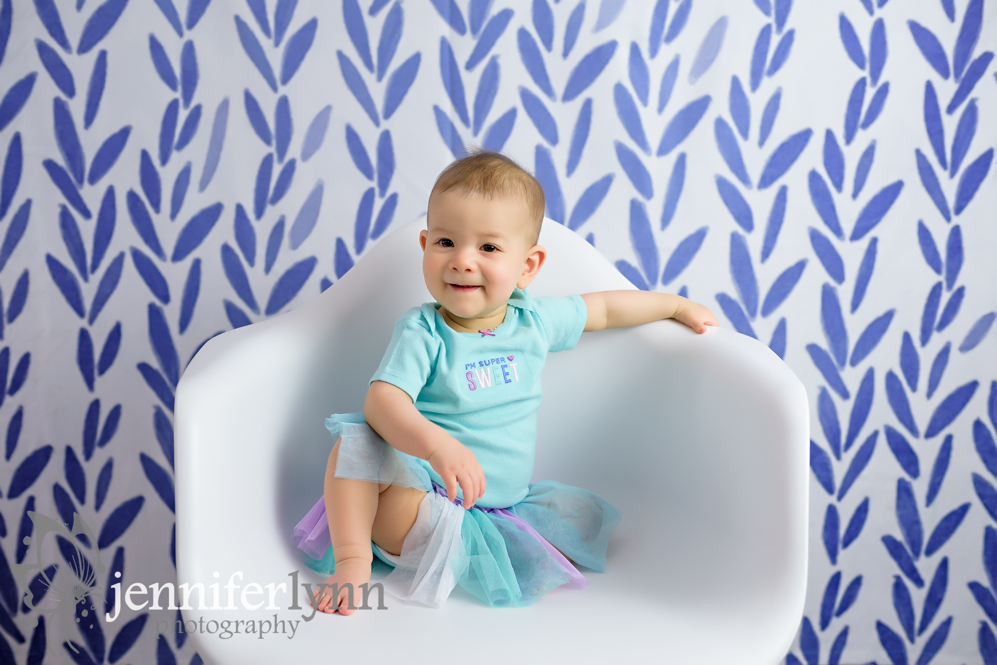 Baby Girl White Chair Purple Background