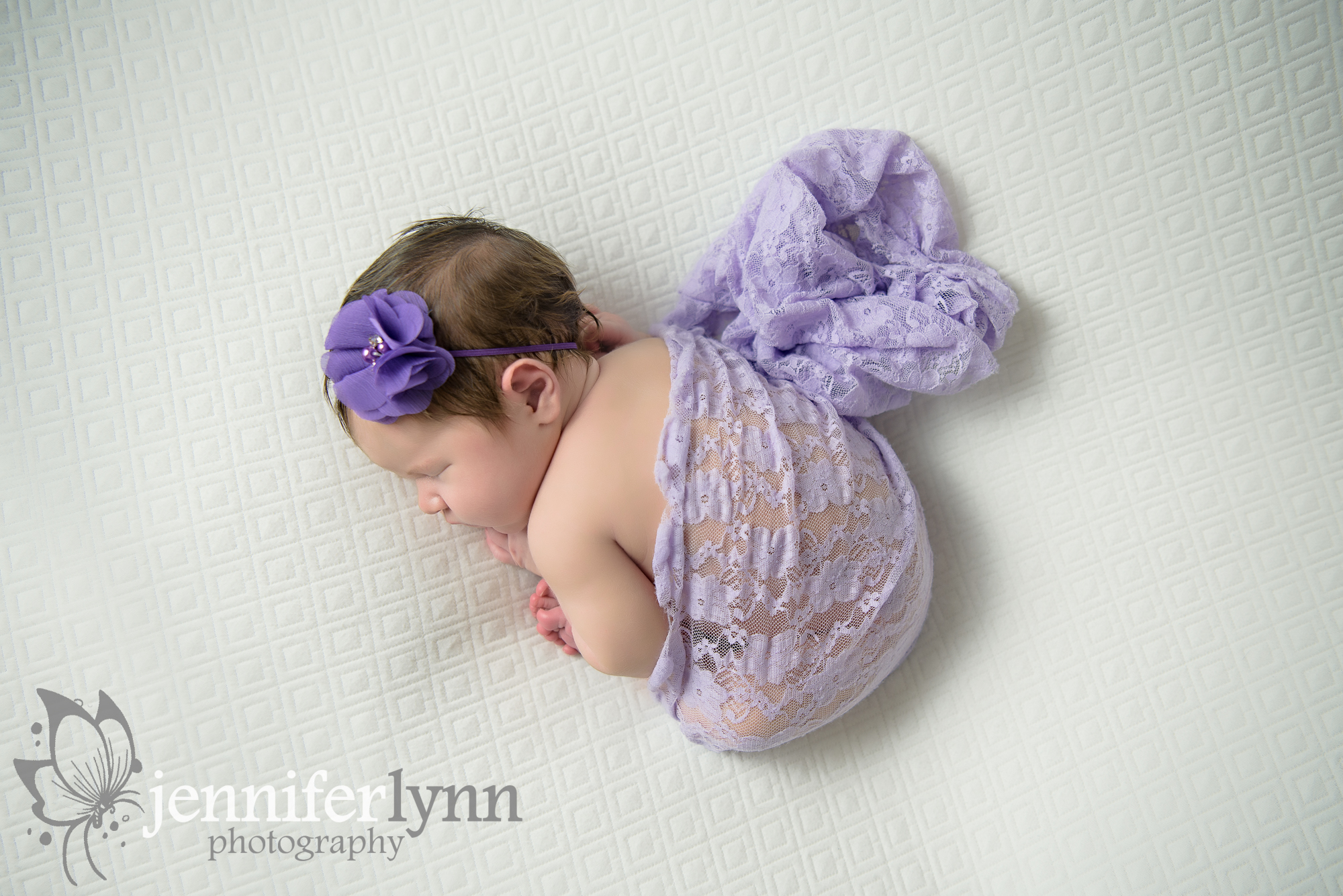 Newborn Girl Overhead Purple Lace White Blanket