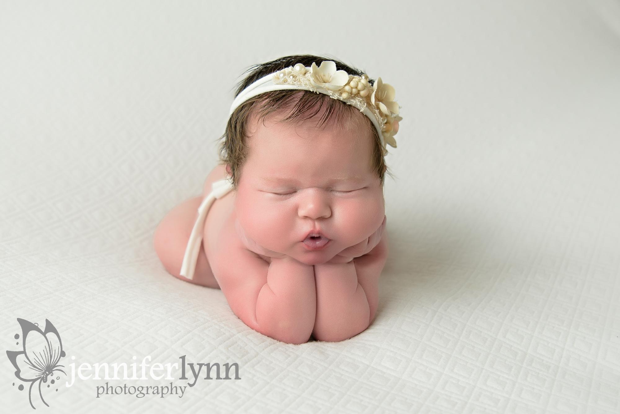 Newborn Girl White and Cream Froggie
